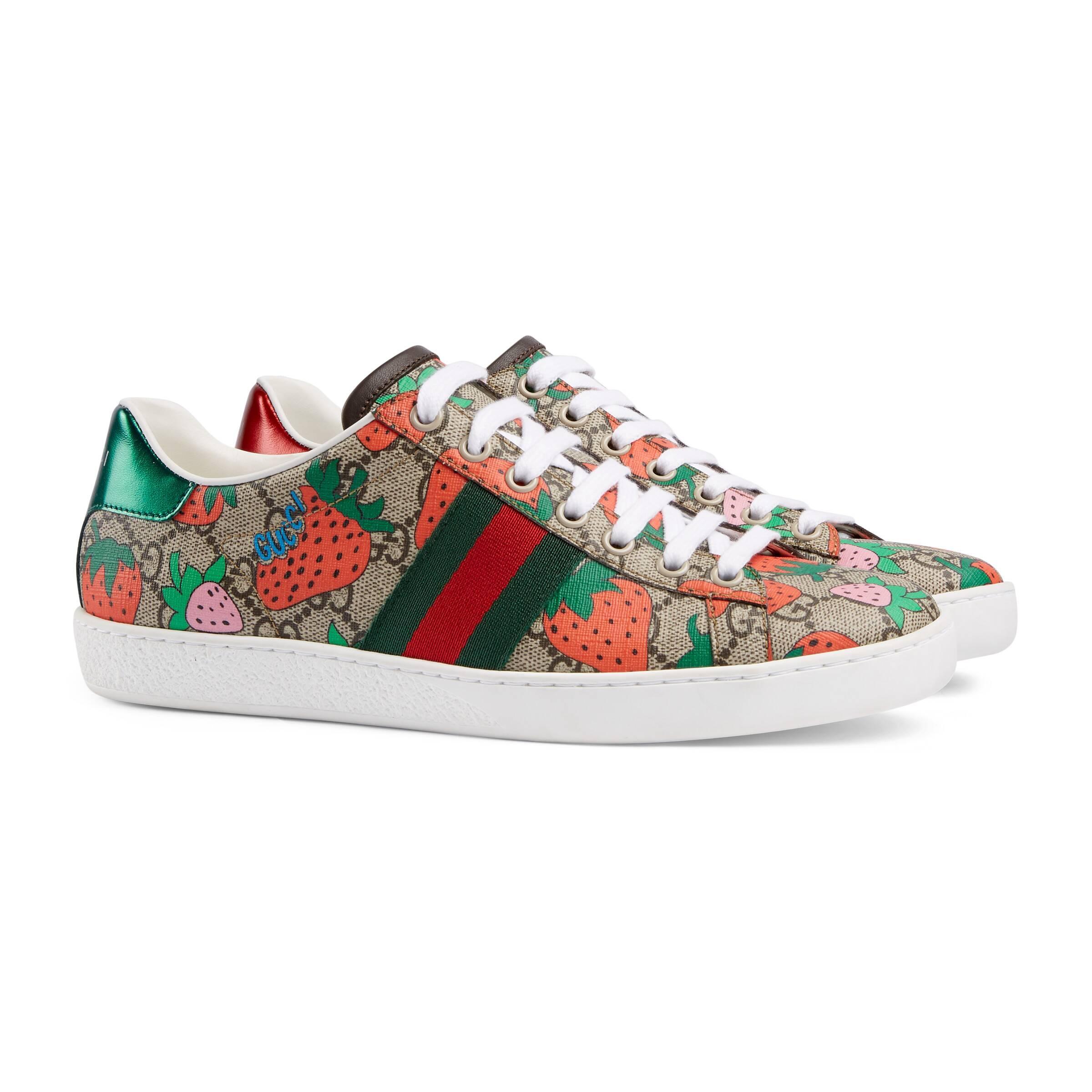 Gucci Canvas Ace GG Strawberry Sneaker