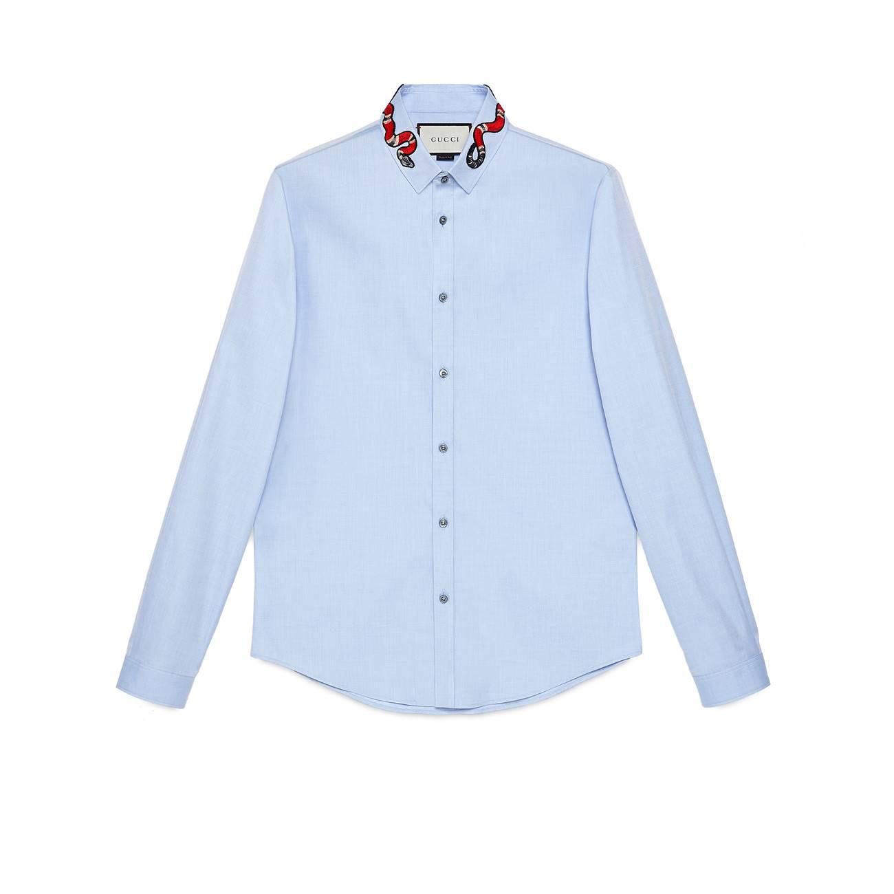 f4d083f811e Lyst - Gucci Oxford Duke Shirt With Kingsnake in Blue for Men - Save 4%