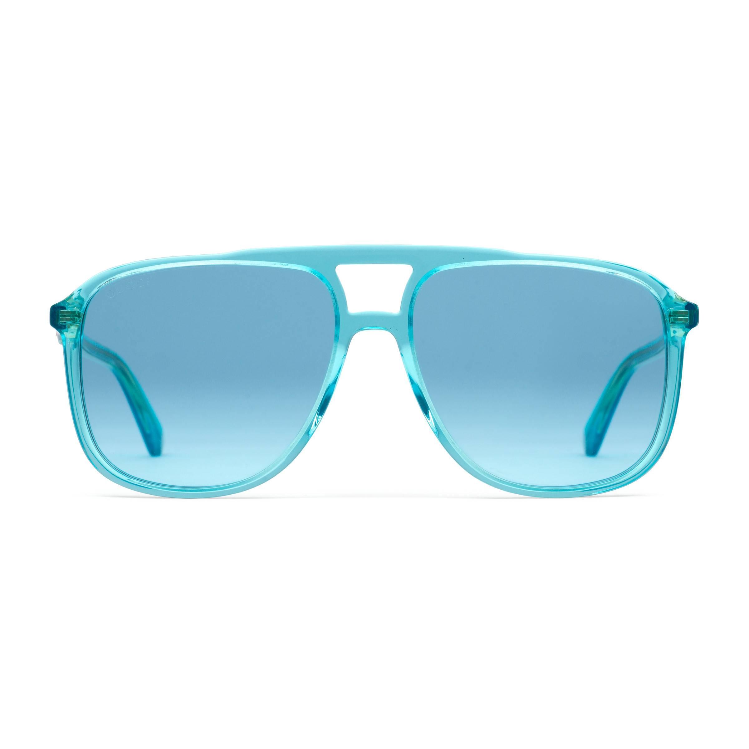 Gucci. Lunettes de soleil rectangulaires en acétate homme de coloris bleu 5ea5cbb05ea1