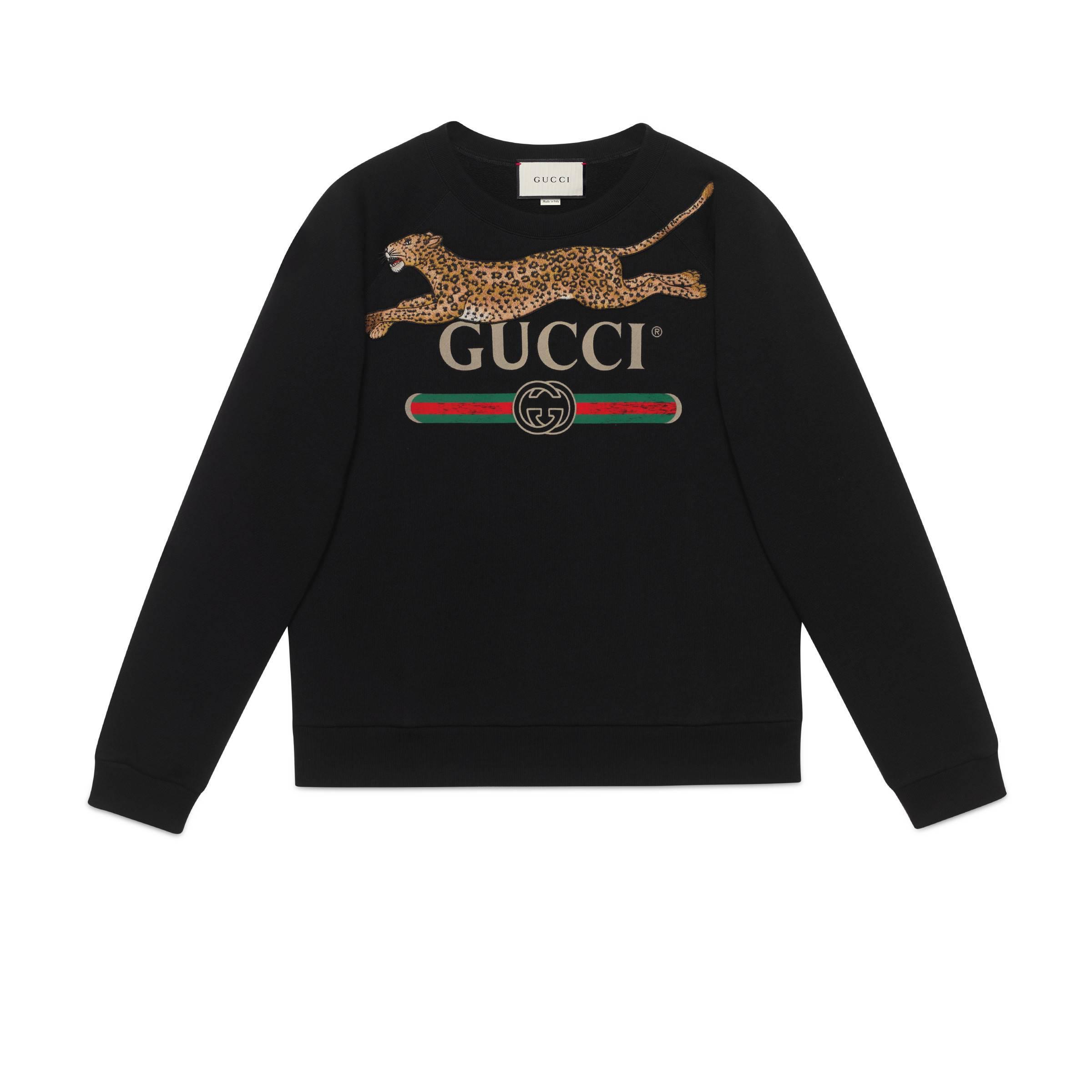 f0a4da60 Gucci Logo Sweatshirt With Leopard in Black for Men - Lyst