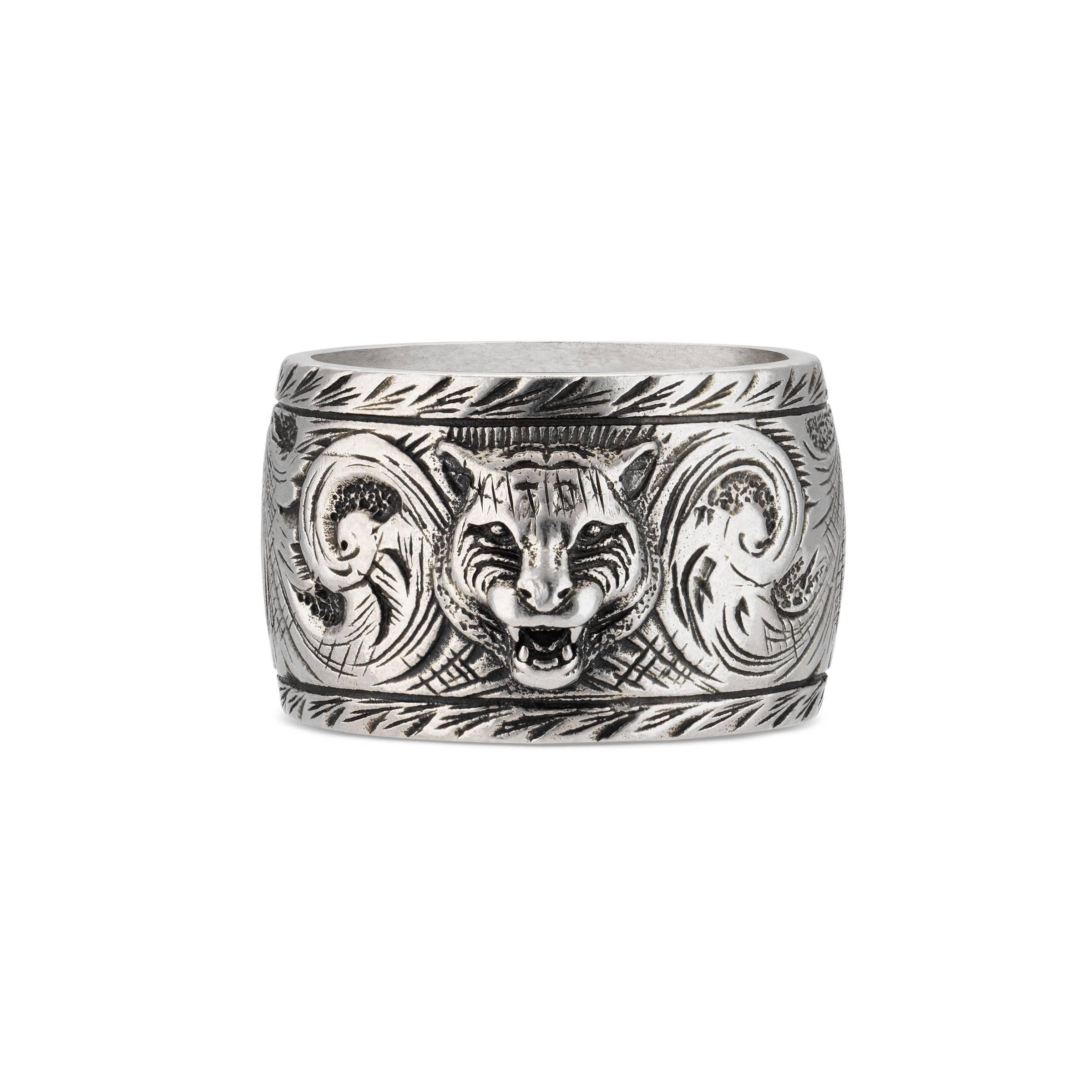 1ec36befdb Herren Breiter Ring aus Silber mit Felinekopf in mettallic