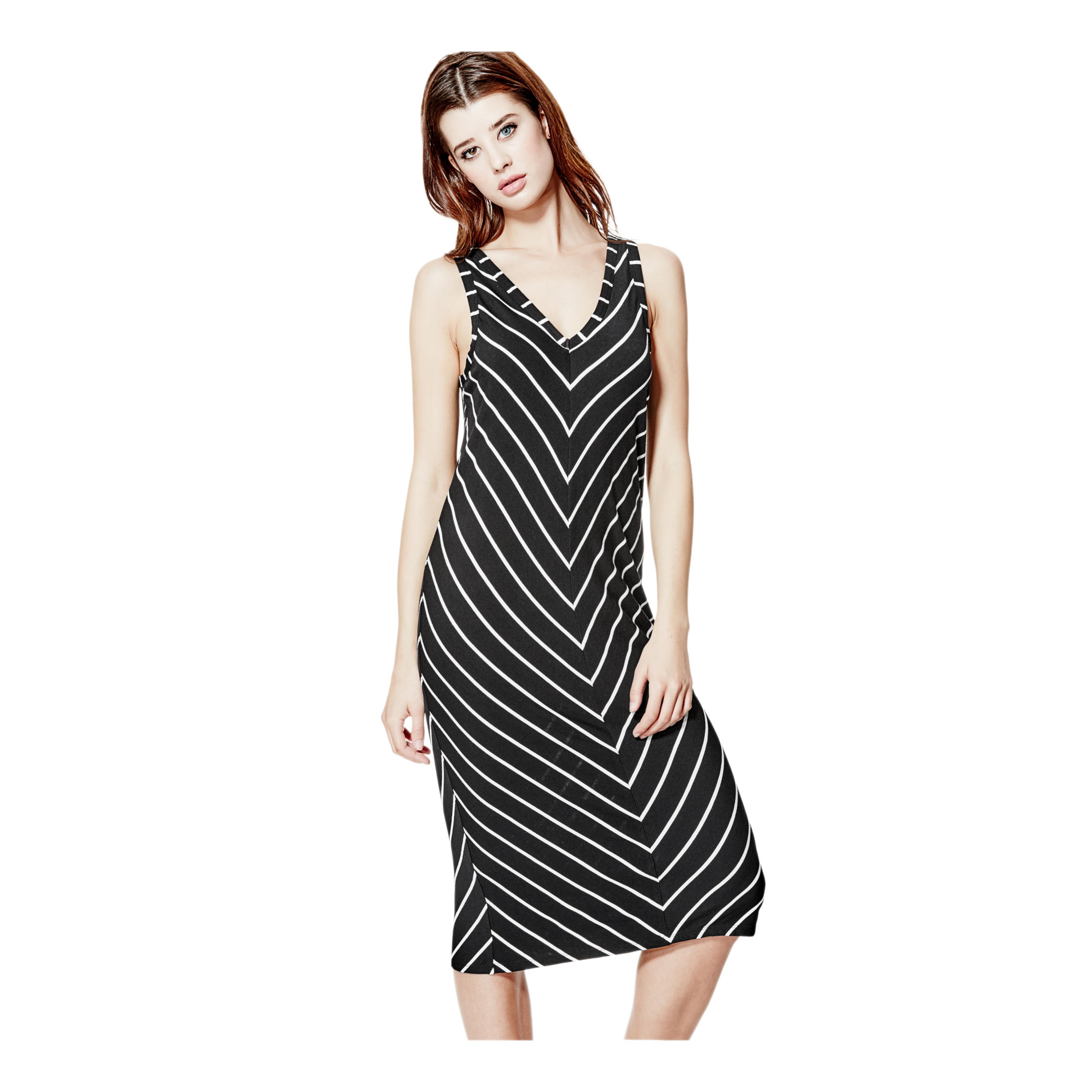 a9cfbfc0af06 Lyst - Guess Tia Striped Dress in Black