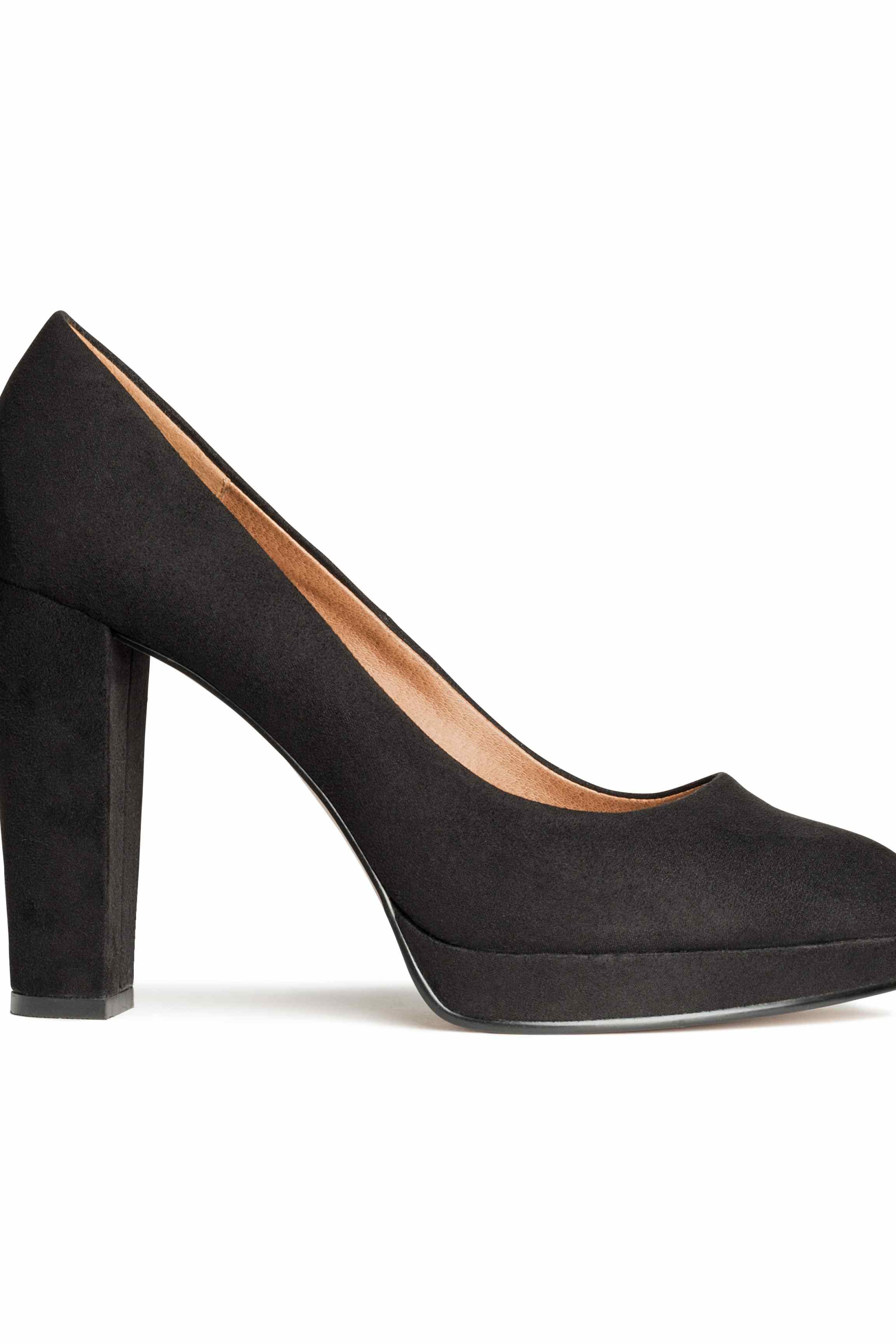h m suede court shoes in black lyst