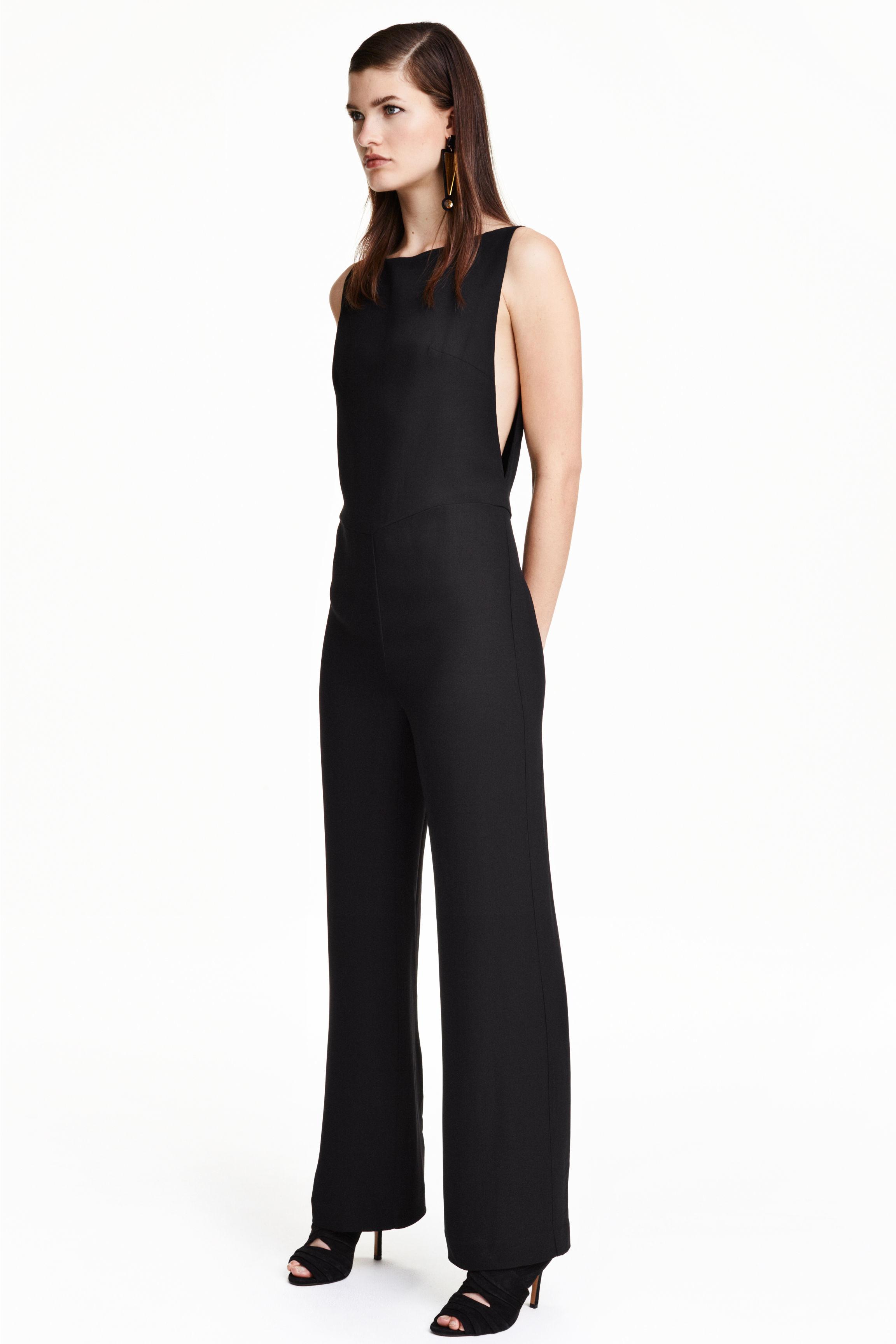 h m jumpsuit in a lyocell blend in black lyst. Black Bedroom Furniture Sets. Home Design Ideas