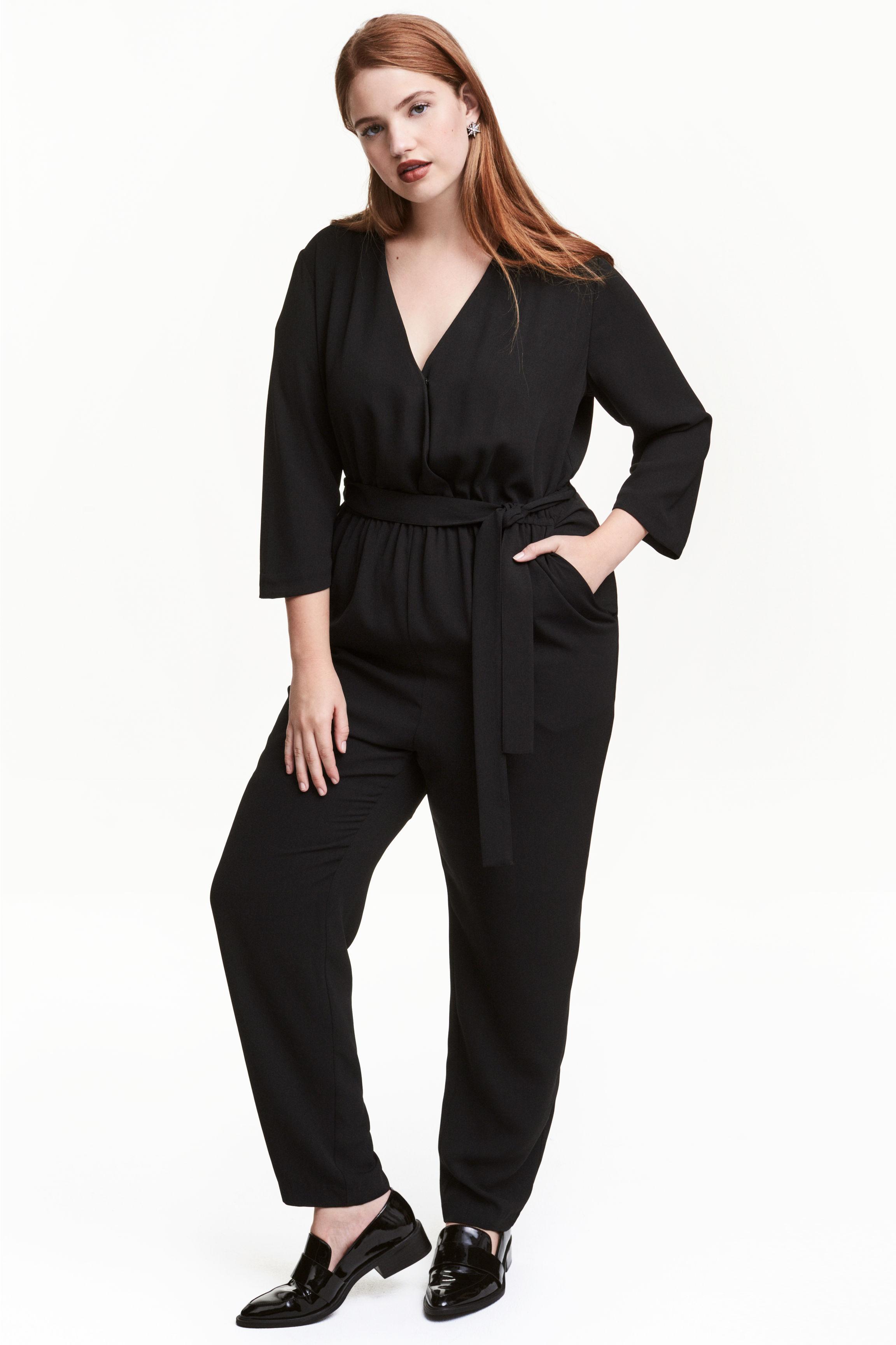 h m jumpsuit with a tie belt in black lyst. Black Bedroom Furniture Sets. Home Design Ideas