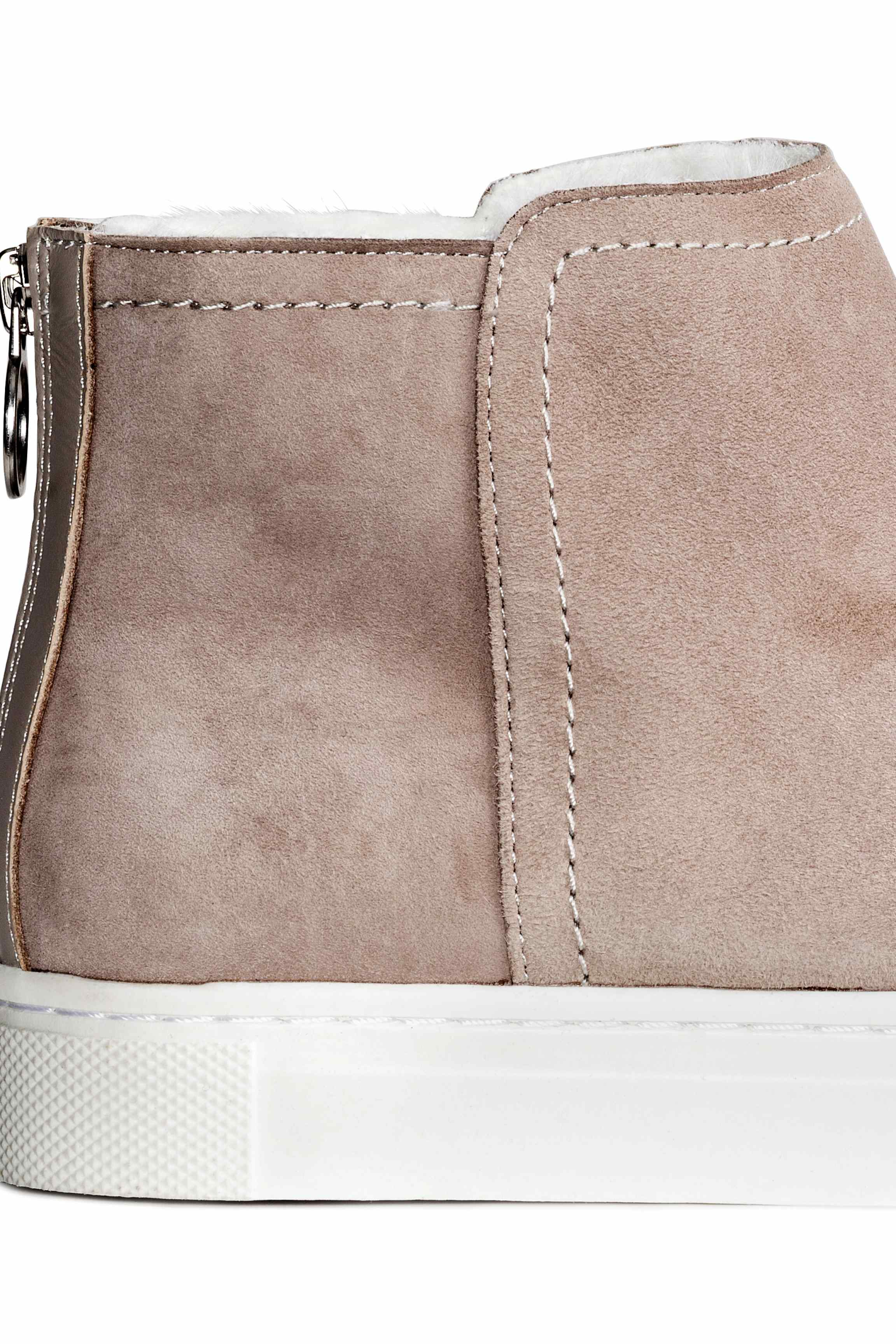 H&M Pile-lined Suede Trainers in Light Grey (Grey)
