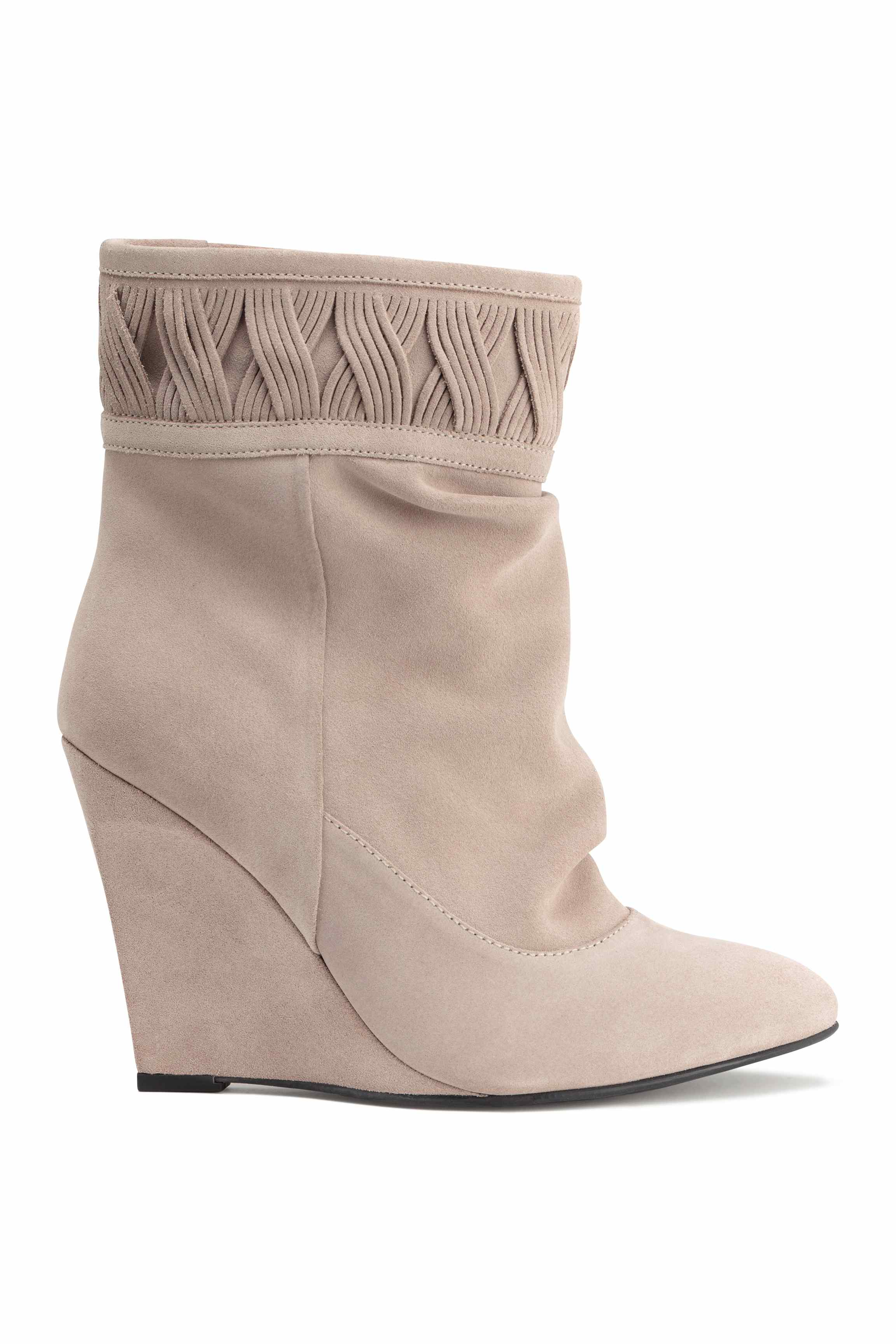 h m suede wedge heel boots lyst