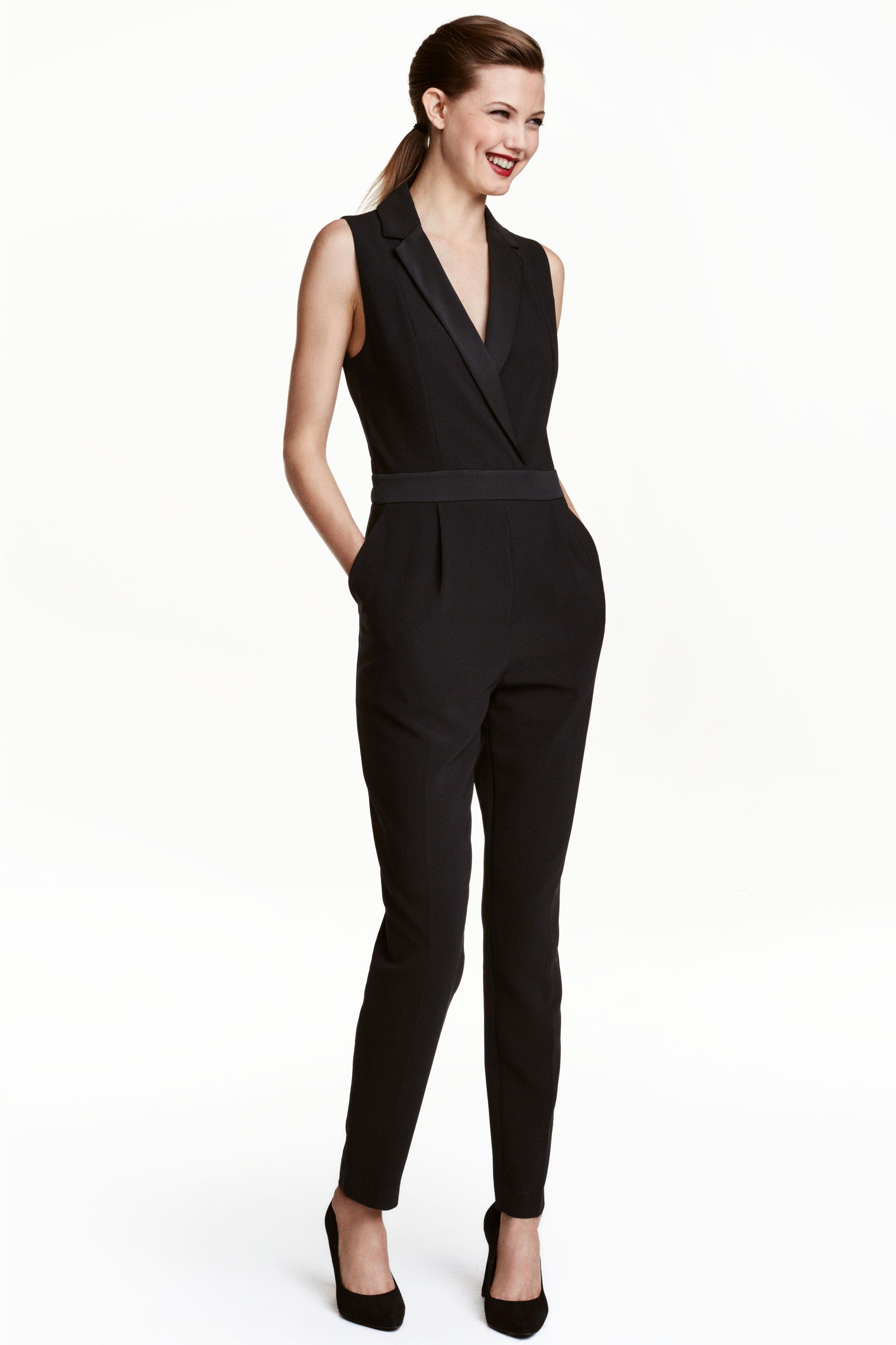 lyst h m dressy jumpsuit in black. Black Bedroom Furniture Sets. Home Design Ideas