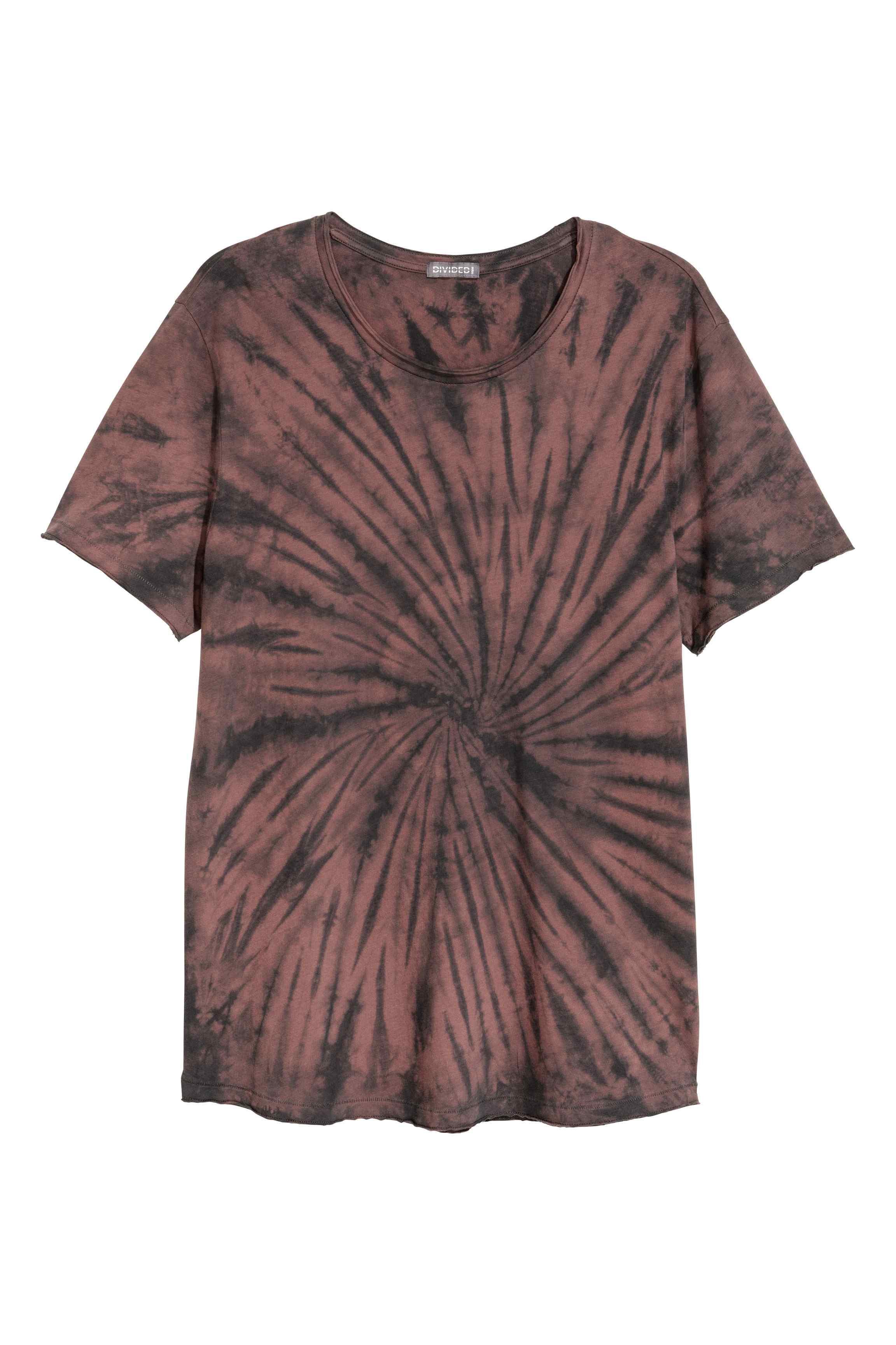 h m batik patterned t shirt in brown for men lyst. Black Bedroom Furniture Sets. Home Design Ideas