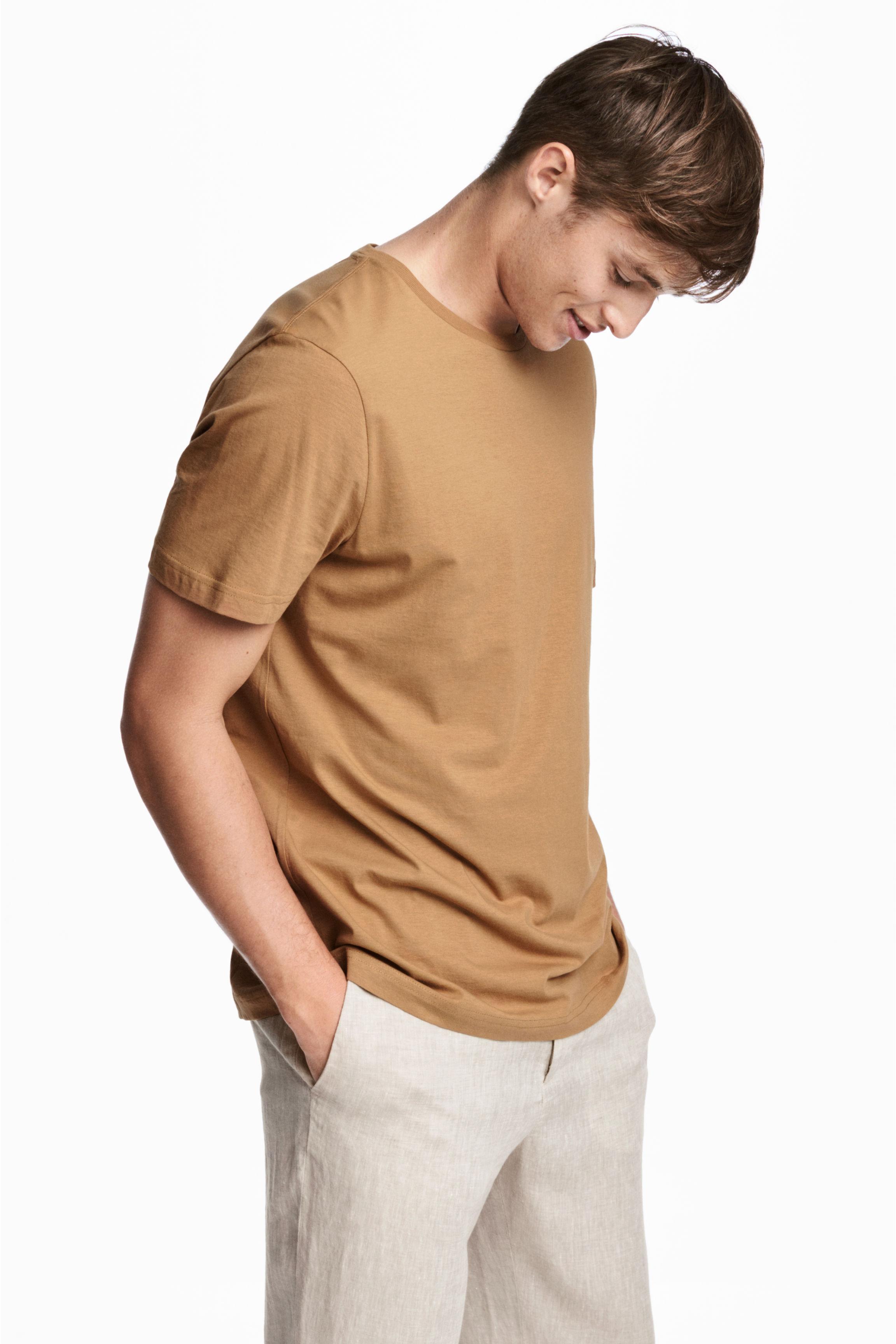 h m cotton t shirt regular fit in natural for men lyst. Black Bedroom Furniture Sets. Home Design Ideas