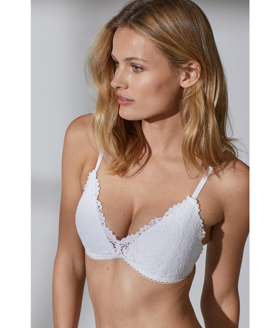 6843f51709443 Lyst - H M Non-wired Lace Push-up Bra in White
