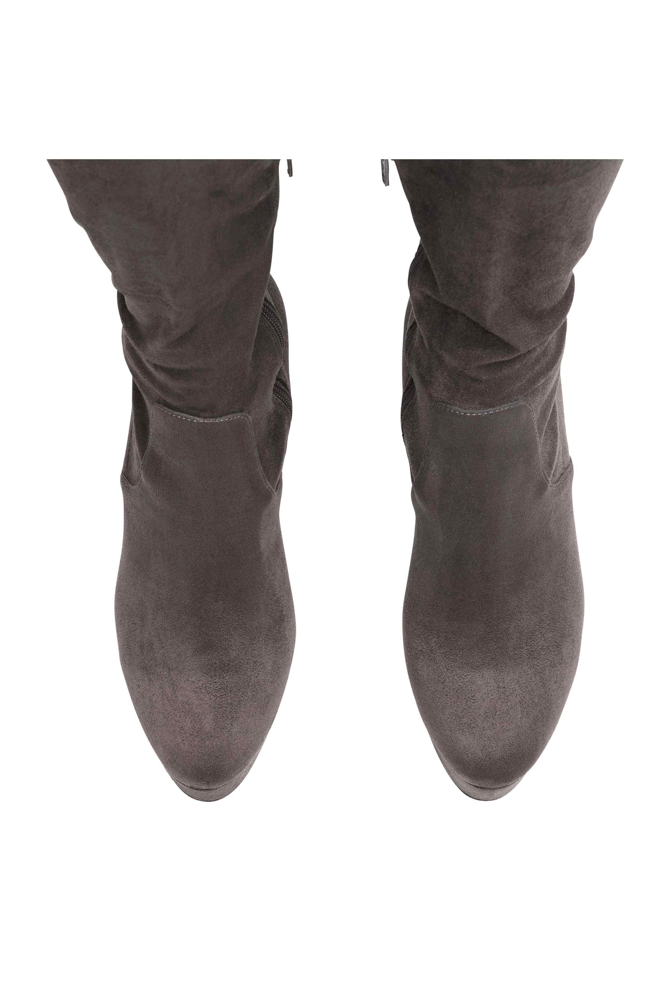 H&M Suede Thigh-high Boots in Dark Grey (Grey)