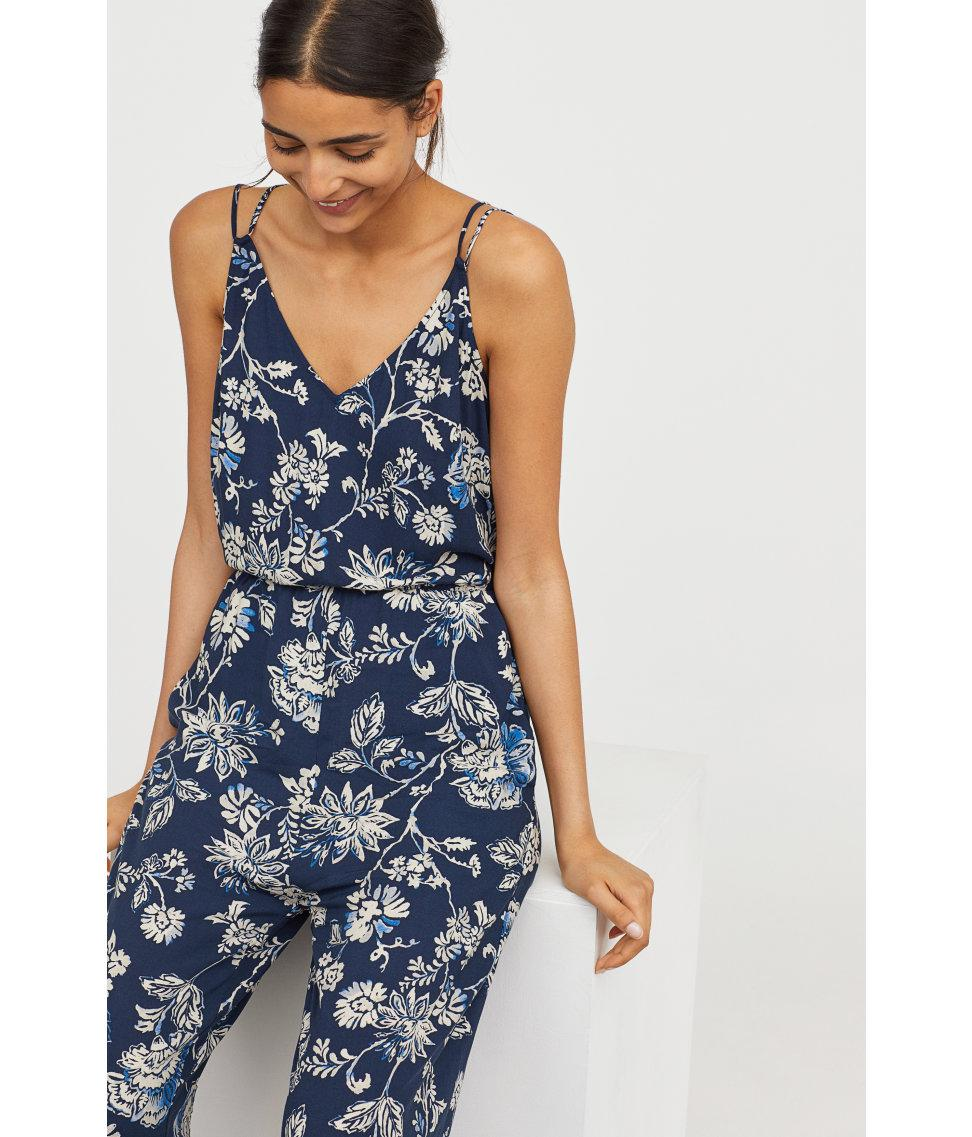 50a17693341 Lyst - H M V-neck Jumpsuit in Blue