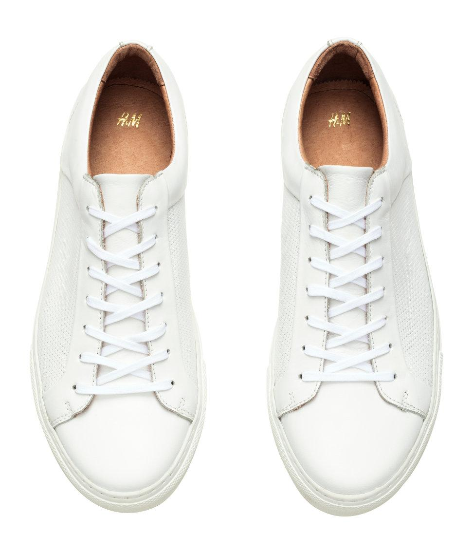 H\u0026M Leather Trainers in White for Men