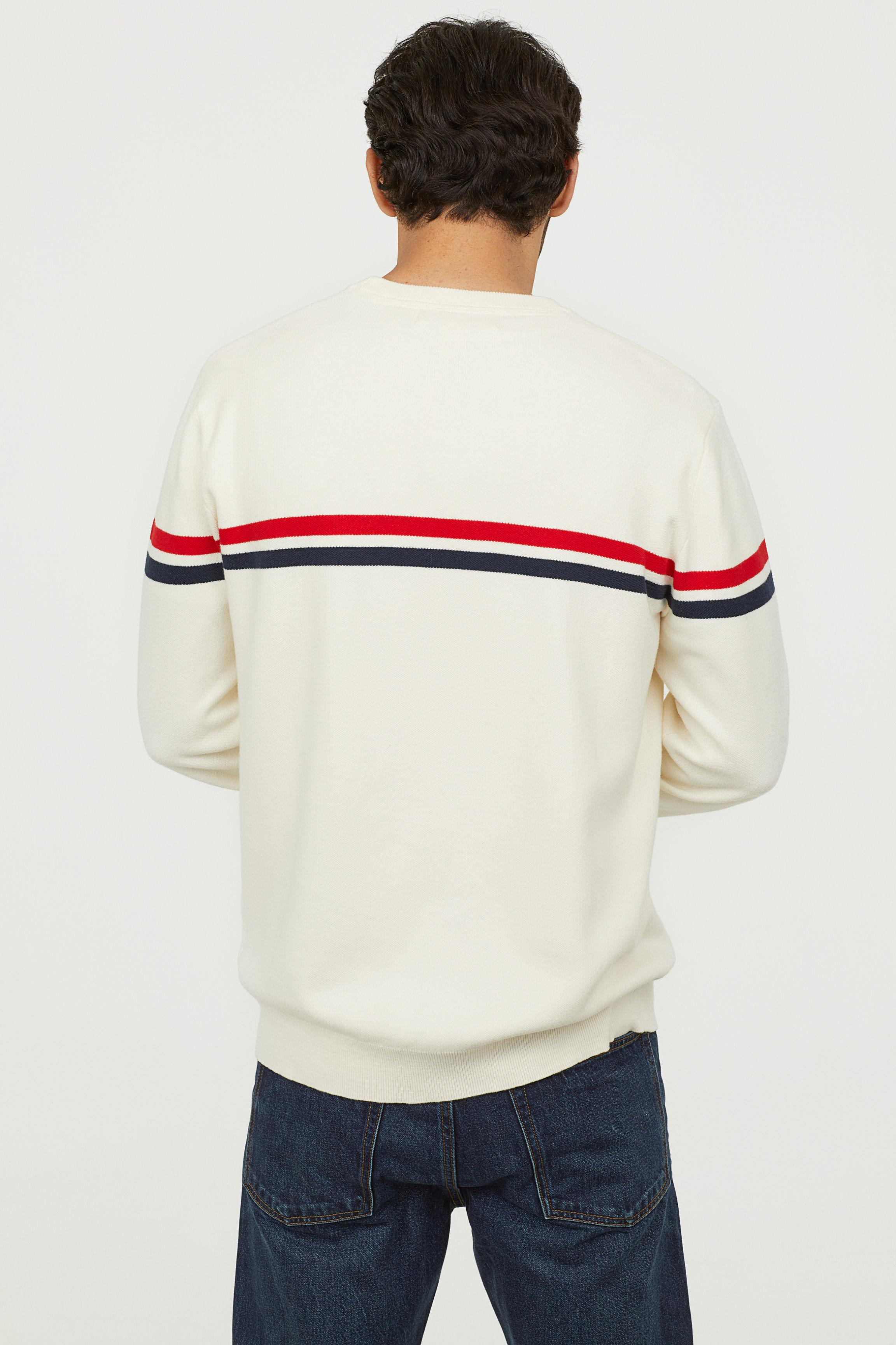 H&M Cotton Jacquard-knit Sweater in Natural White (White) for Men