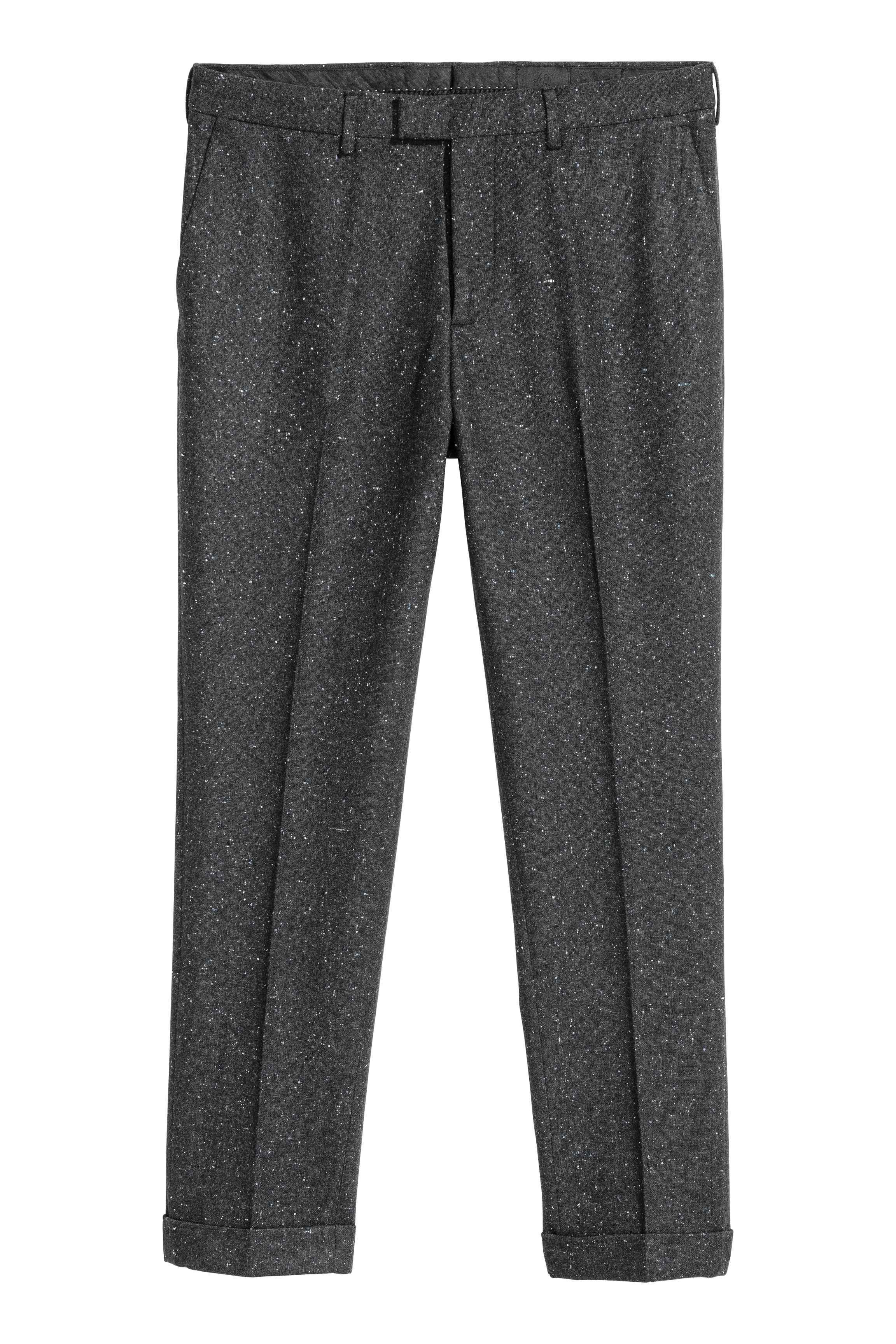 H&M Wool Nepped Suit Trousers Slim Fit in Grey for Men