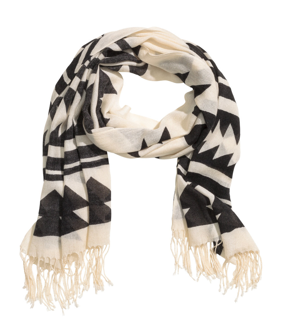 h m woven scarf in white lyst