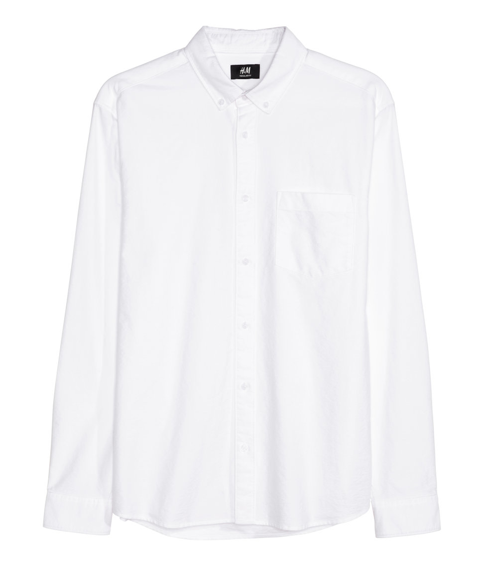 H M Oxford Shirt In White For Men Lyst