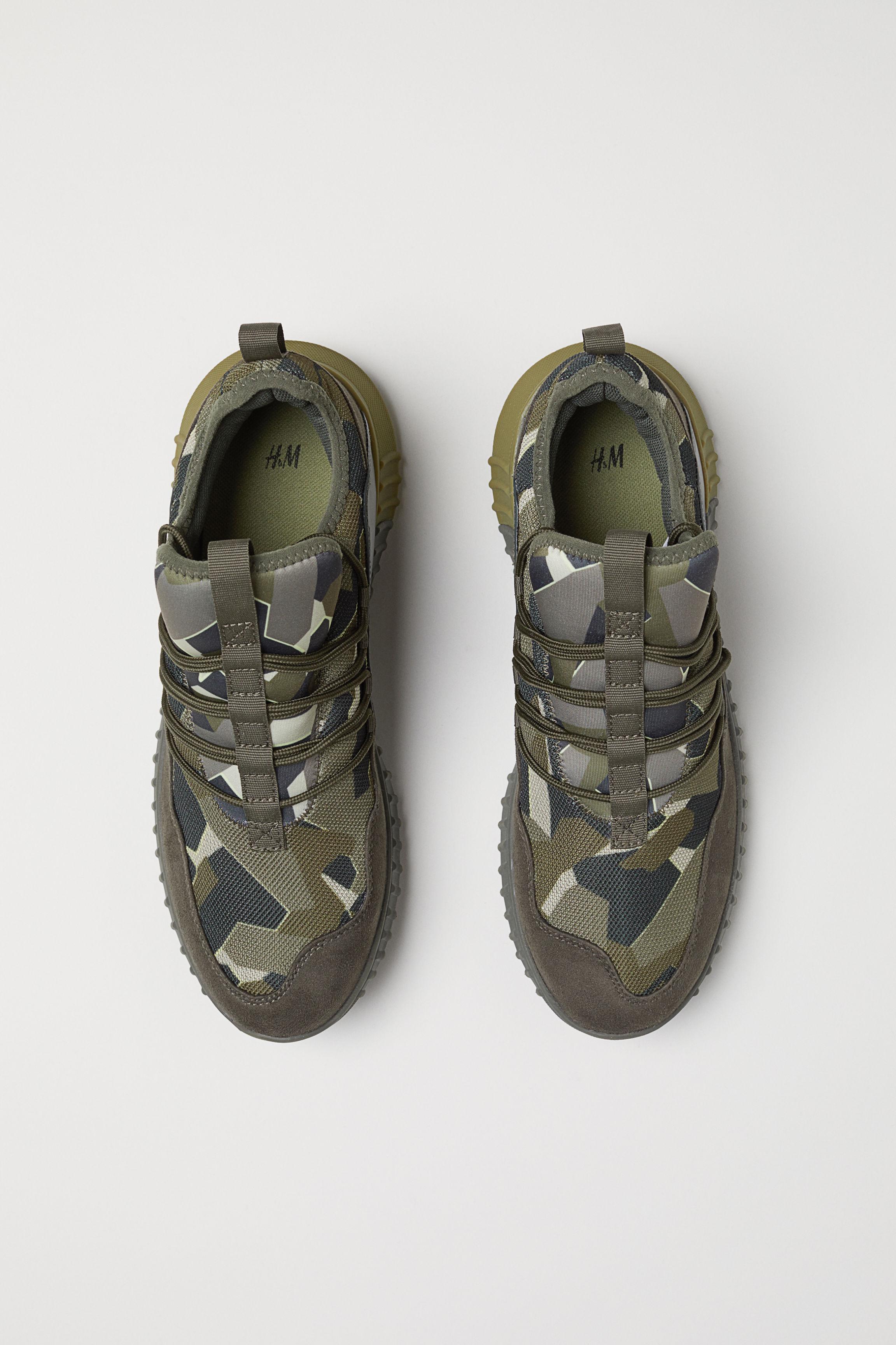 H&M Rubber Mesh Sneakers in Dark Khaki Green/Patterned (Green) for Men