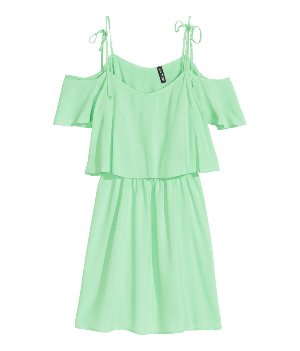 d9142f4797f0 Lyst - H M Off-the-shoulder Dress in Green