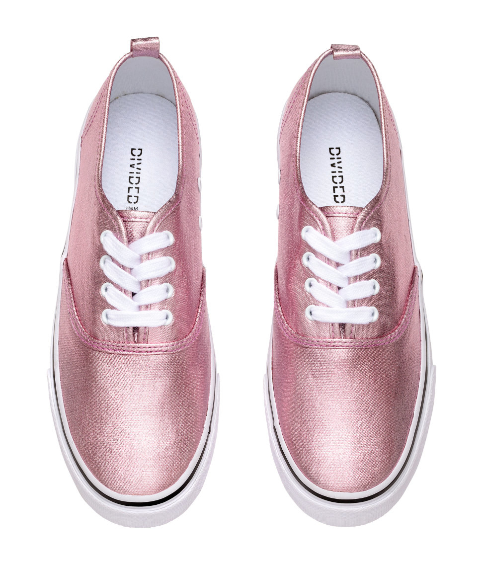h m metallic canvas trainers in pink lyst