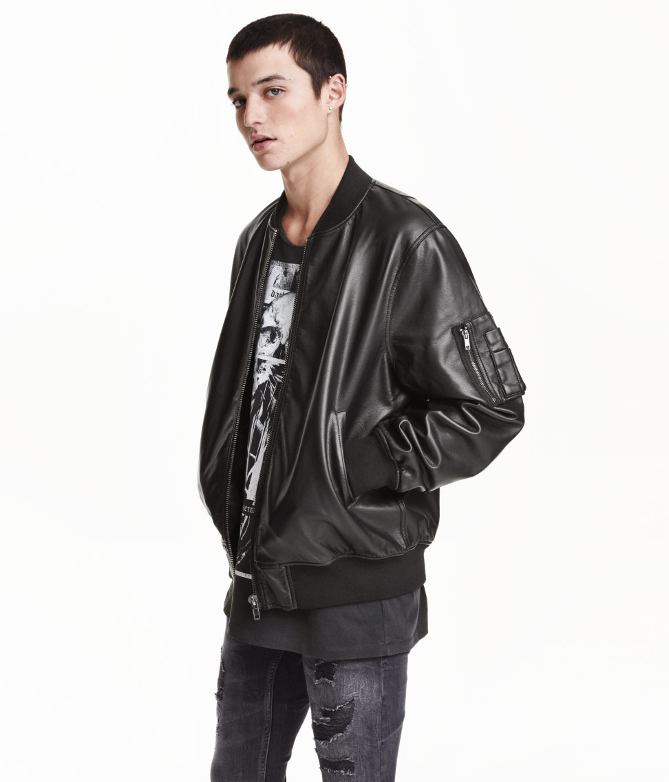 h m bomber jacket in black for men save 36 lyst. Black Bedroom Furniture Sets. Home Design Ideas