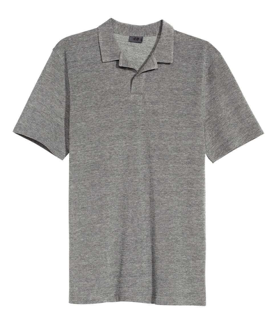 H m polo shirt in premium cotton in gray for men lyst for H m polo shirt mens