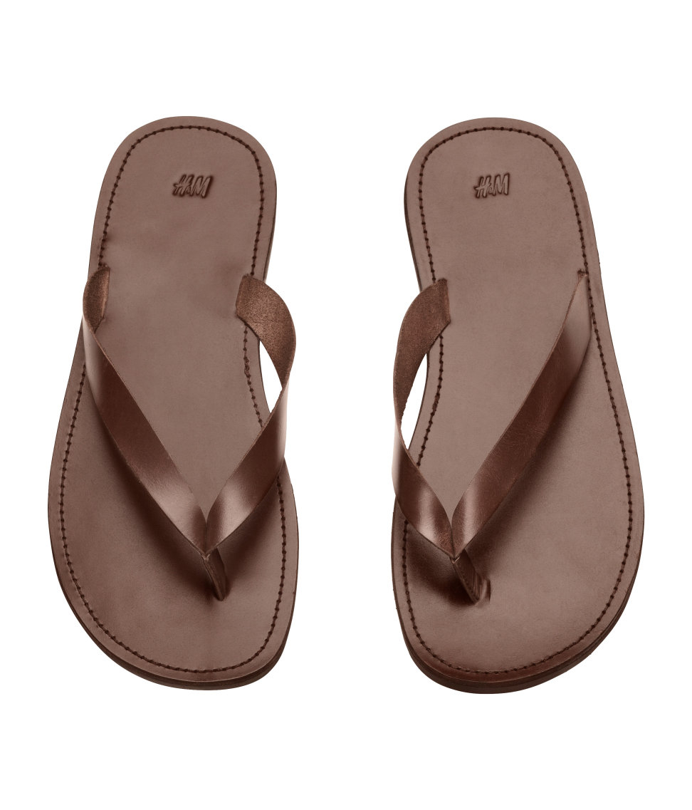 Lyst - Hm Leather Flip-Flops In Brown For Men-9229