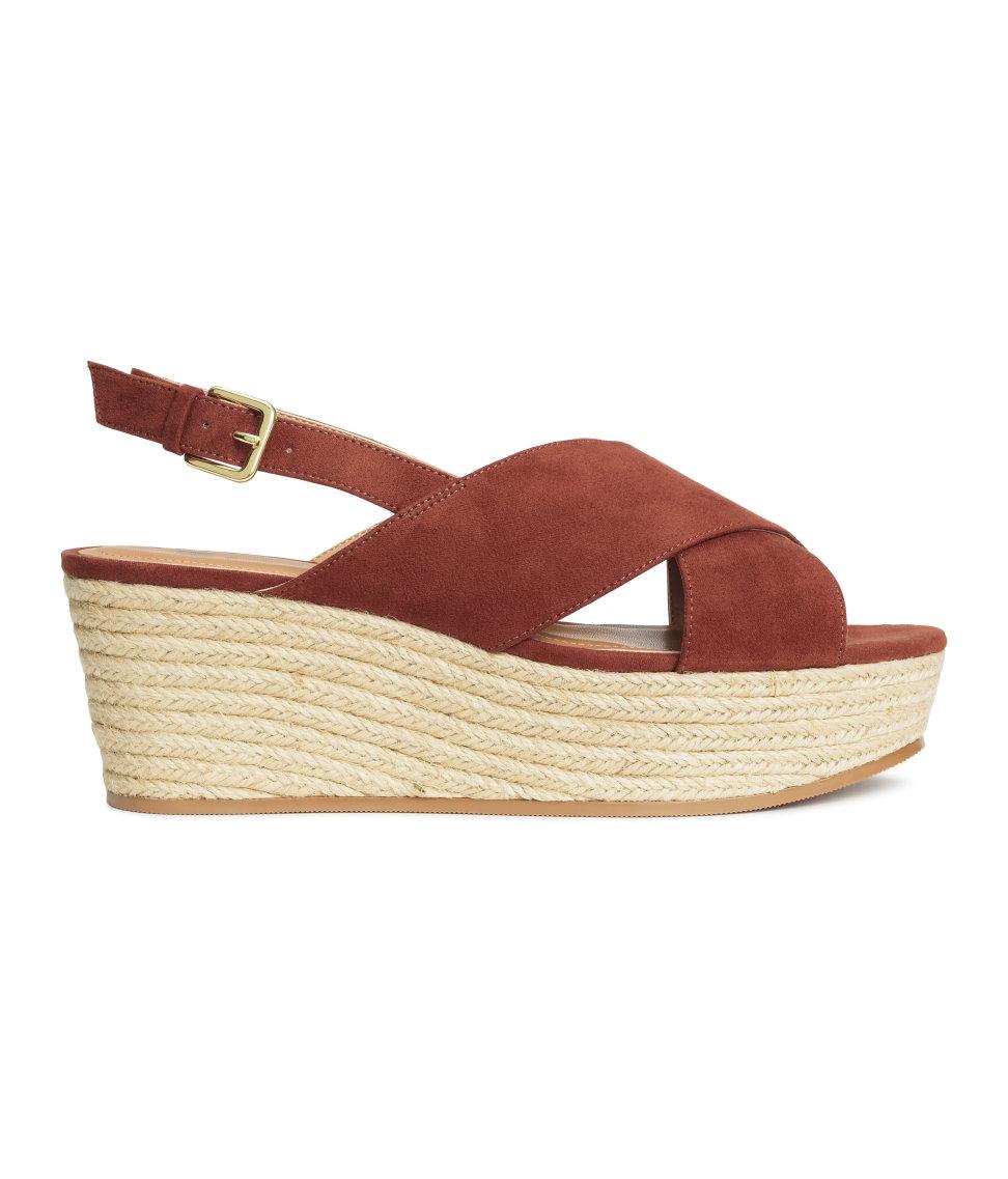 55096329b8 H&M Wedge-heel Sandals in Brown - Lyst