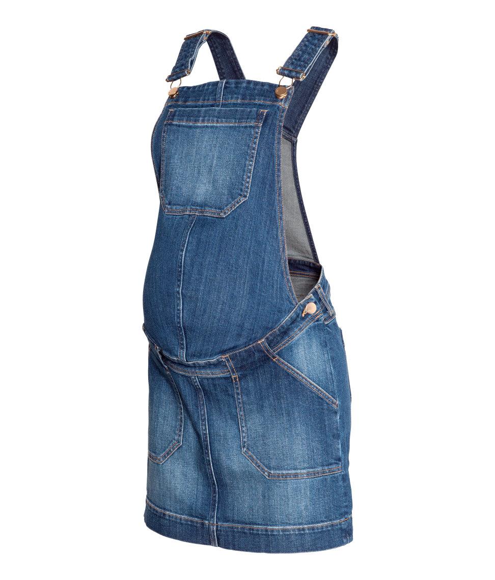 h m denim dungaree skirt in blue lyst