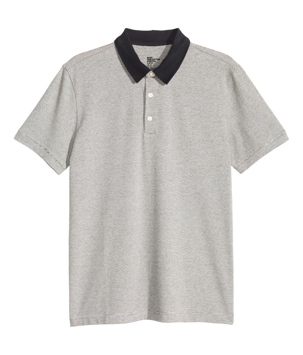 H m striped polo shirt in gray for men lyst for H m polo shirt mens