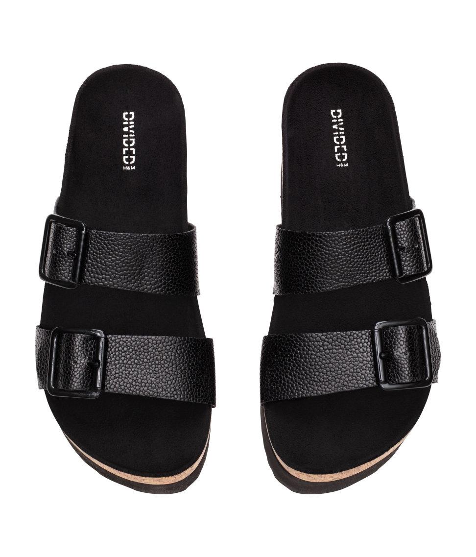 Lyst H Amp M Platform Footbed Slide Sandals In Black