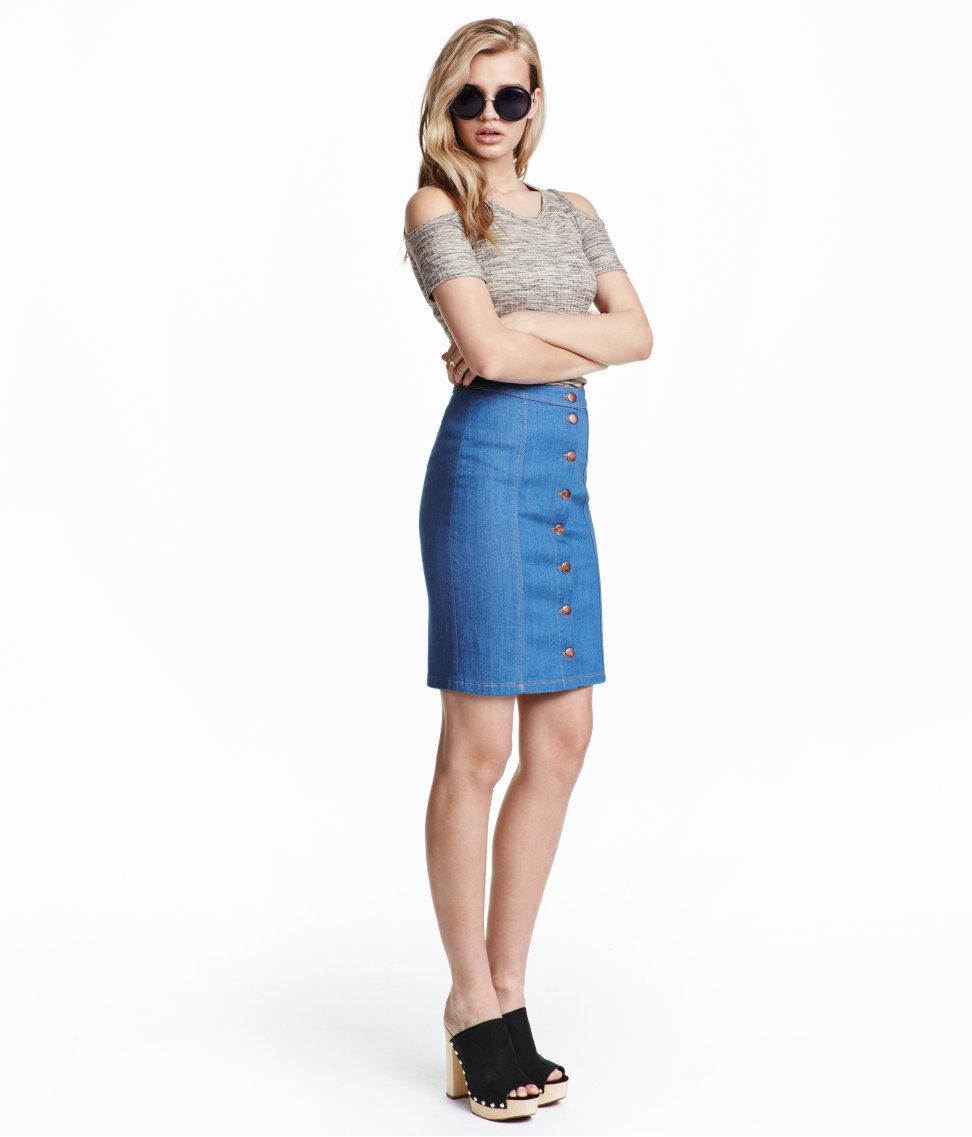 h m denim skirt in blue lyst