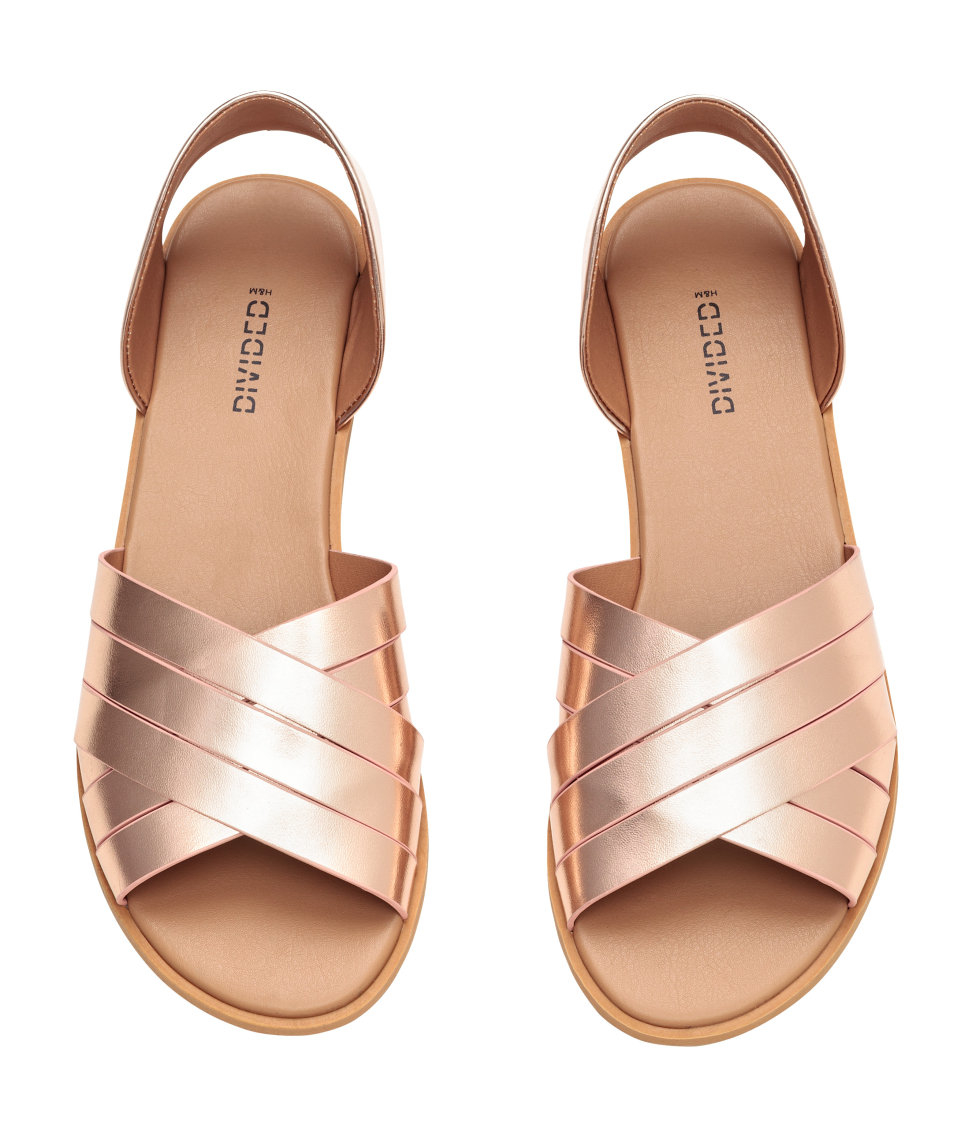 H Amp M Shimmering Sandals In Metallic Lyst