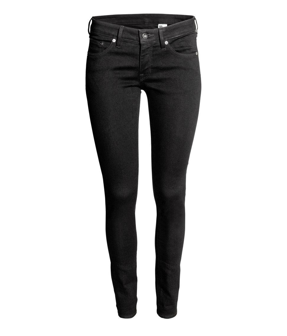 h m super skinny low jeans in black lyst. Black Bedroom Furniture Sets. Home Design Ideas