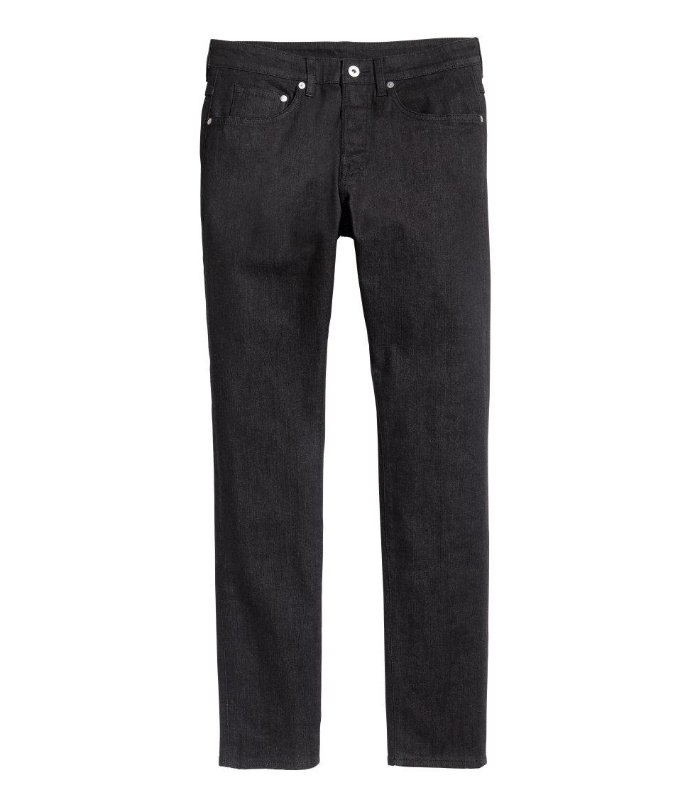 lyst h m skinny low jeans in black for men. Black Bedroom Furniture Sets. Home Design Ideas