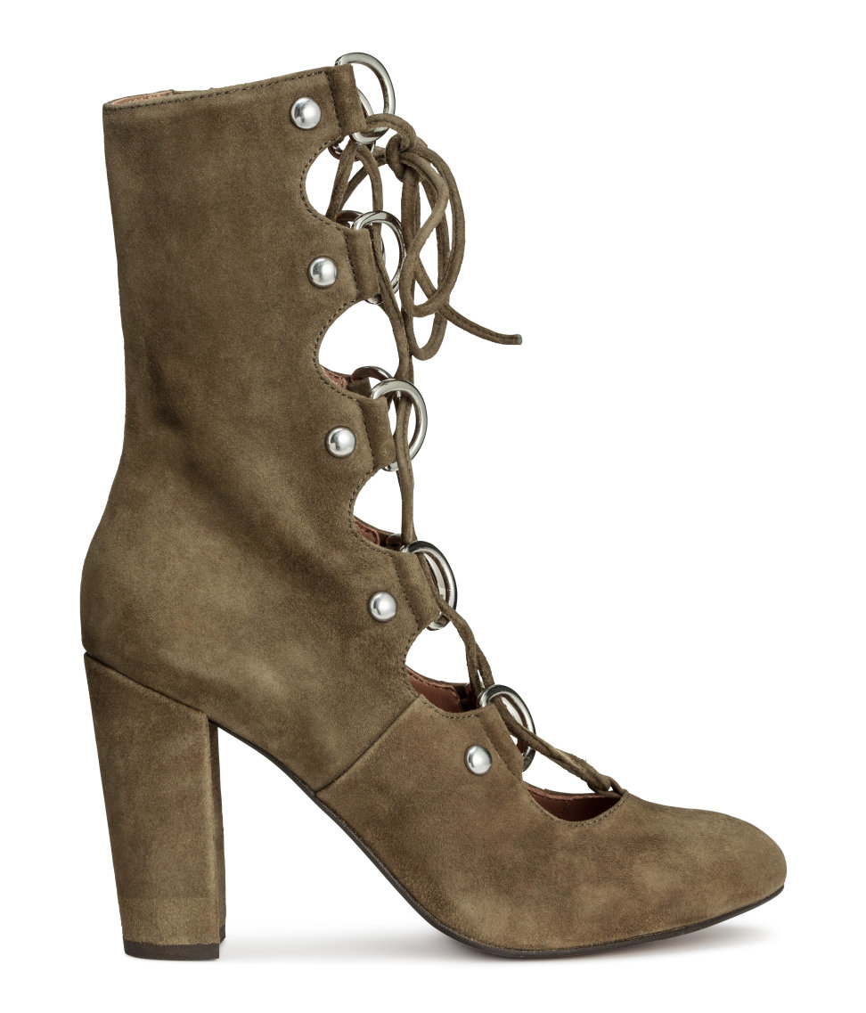 h m suede boots in green lyst