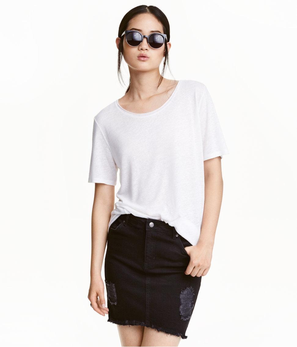 h m denim skirt in black lyst
