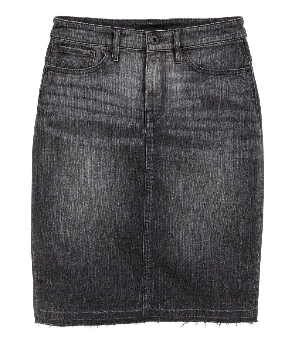 h m denim skirt in black save 43 lyst