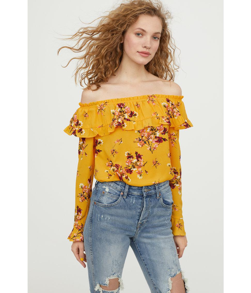 dcd8d7e2b3d9 H&M Off-the-shoulder Blouse in Yellow - Lyst