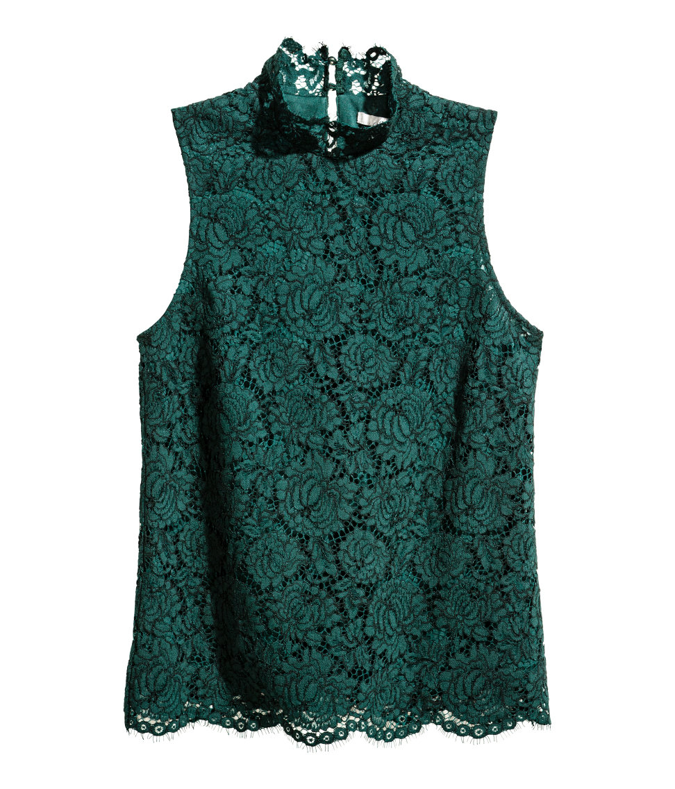 Lyst - H&M Sleeveless Lace Blouse in Green