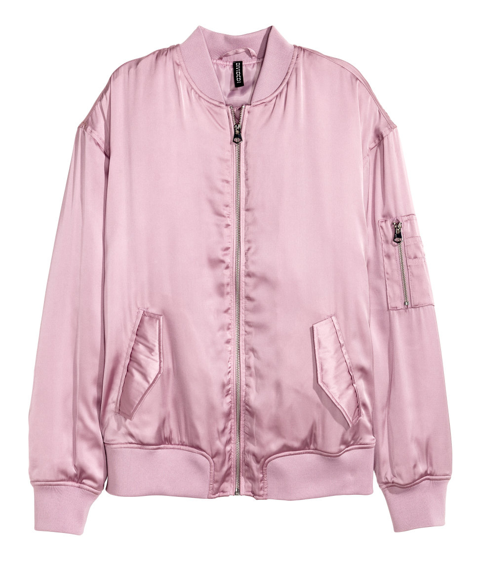 H Amp M Satin Bomber Jacket In Pink Lyst