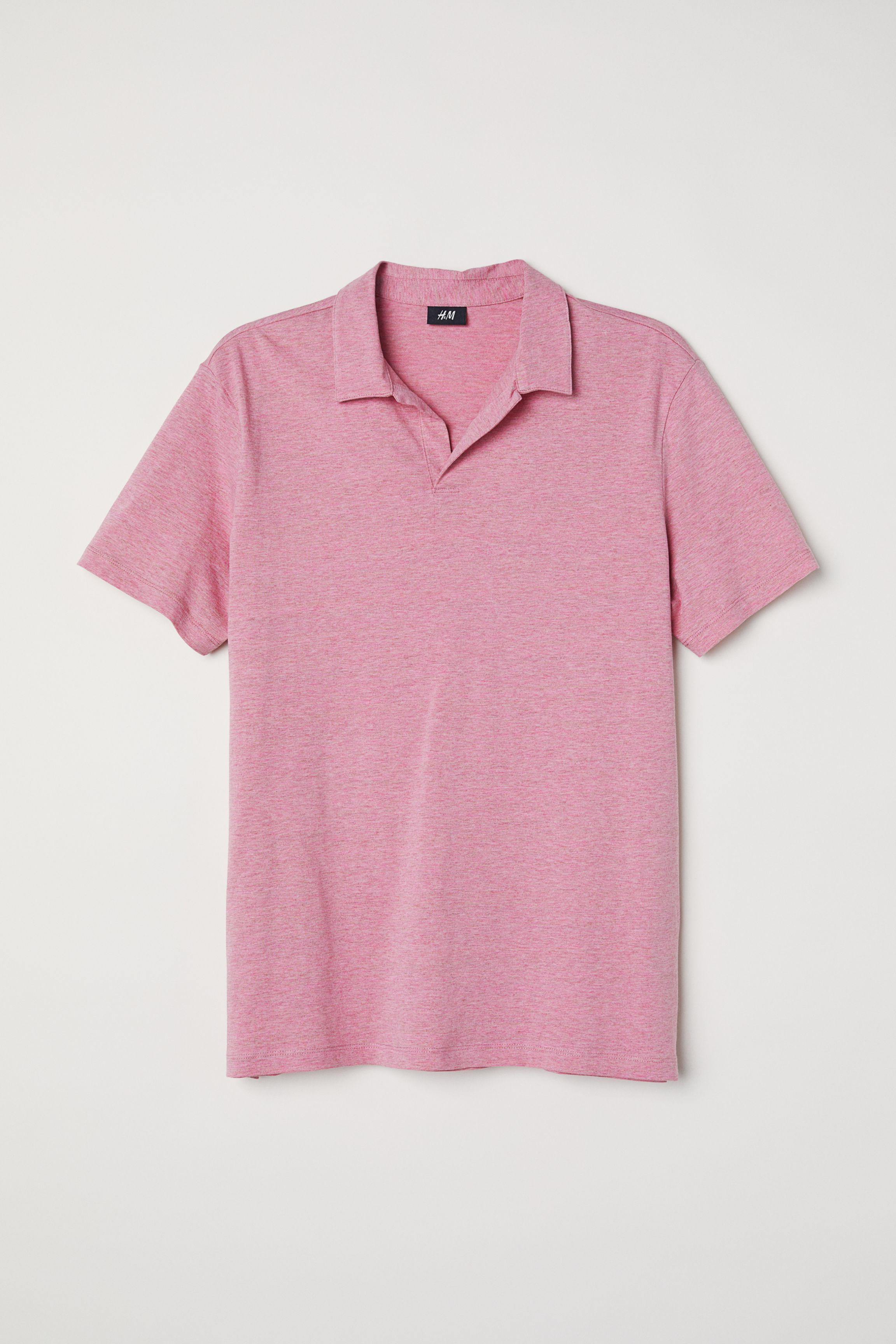 H&M Cotton Polo Shirt in Pink Marl (Pink) for Men