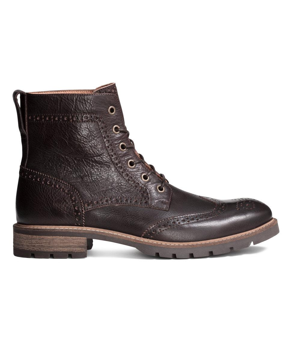 h m brogue patterned leather boots in brown for lyst