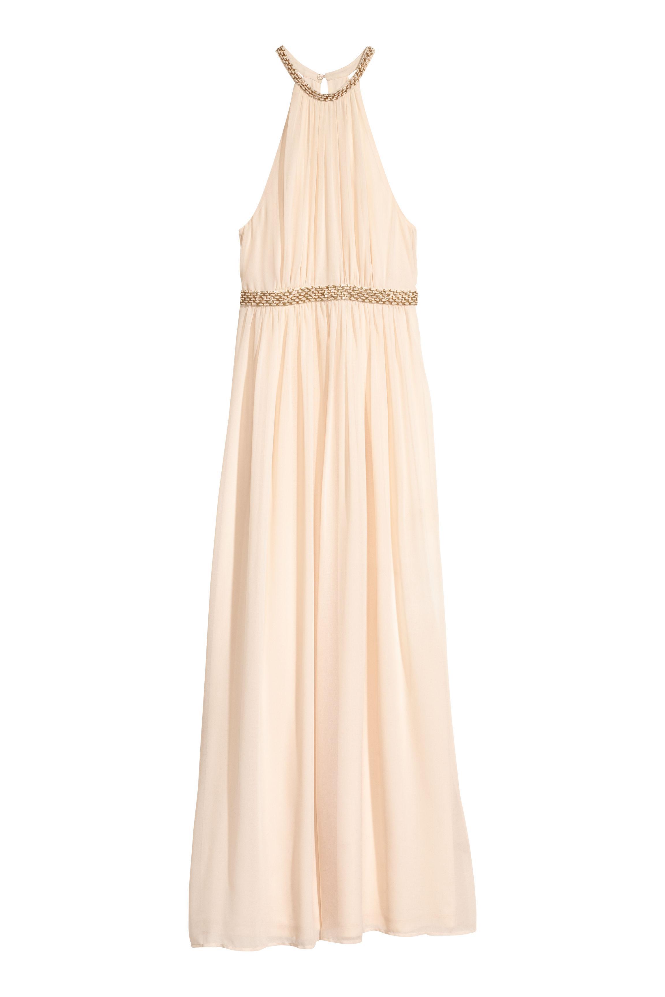 5049a0430647e H&M Long Chiffon Dress in Natural - Lyst