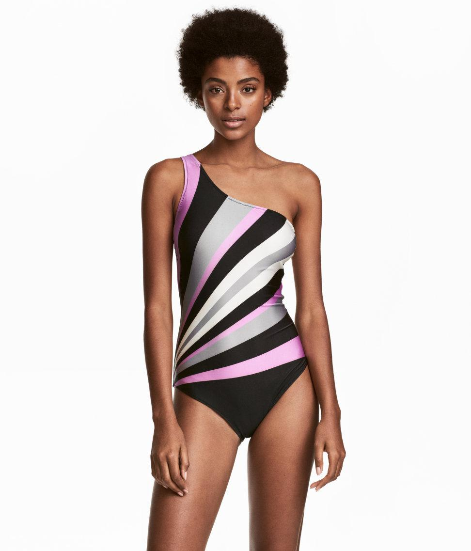 b738abb8ec9dc Lyst - H M One-shoulder Swimsuit in Black