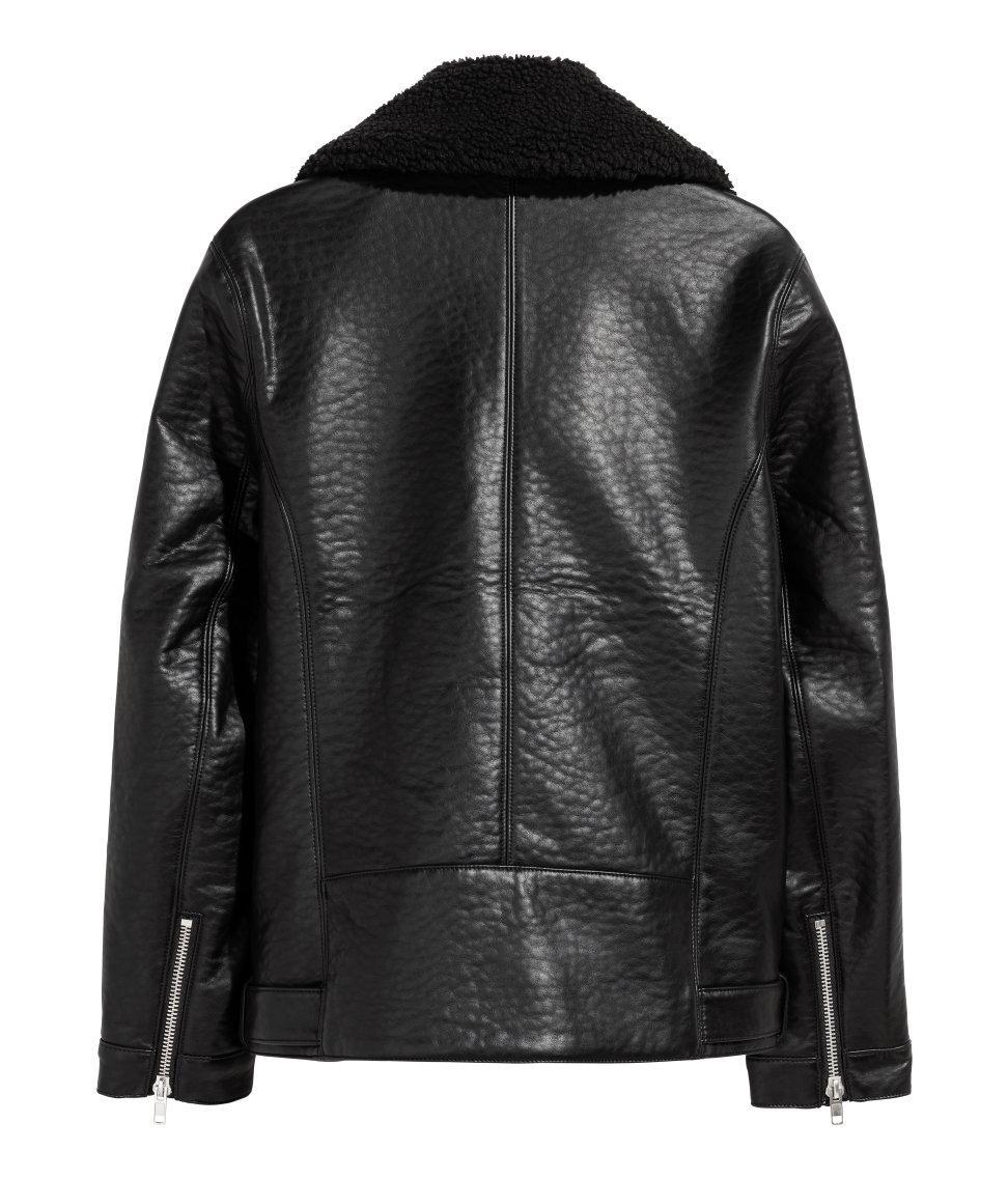 H Amp M Leather Pile Lined Biker Jacket In Black For Men Lyst