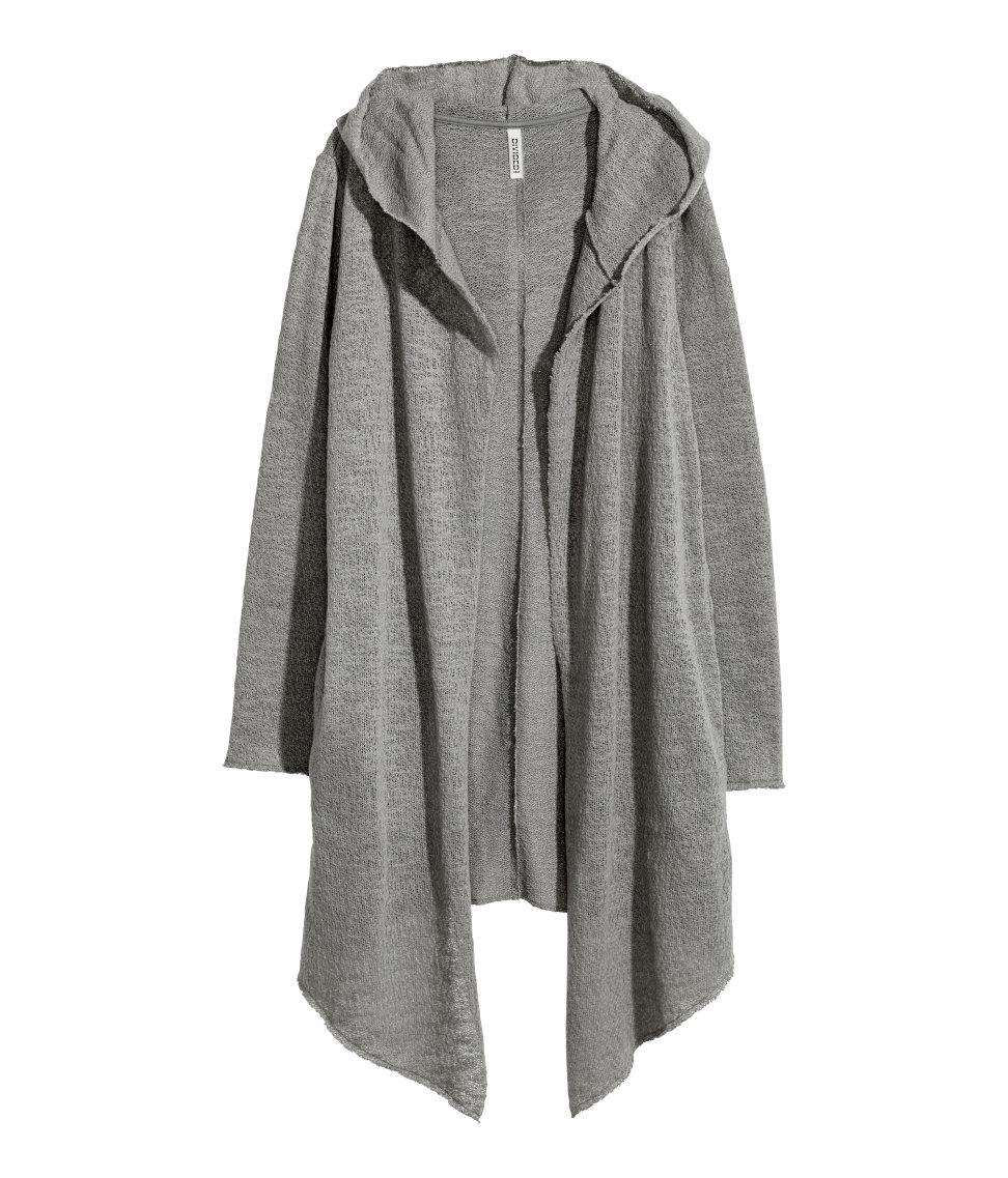 H&m Hooded Cardigan in Gray