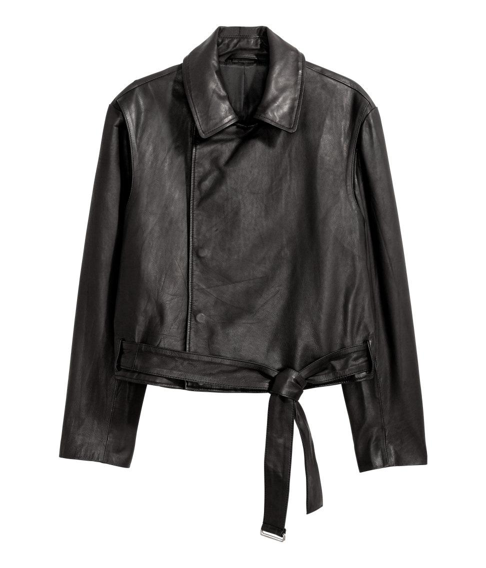 H Amp M Double Breasted Leather Jacket In Black For Men Lyst