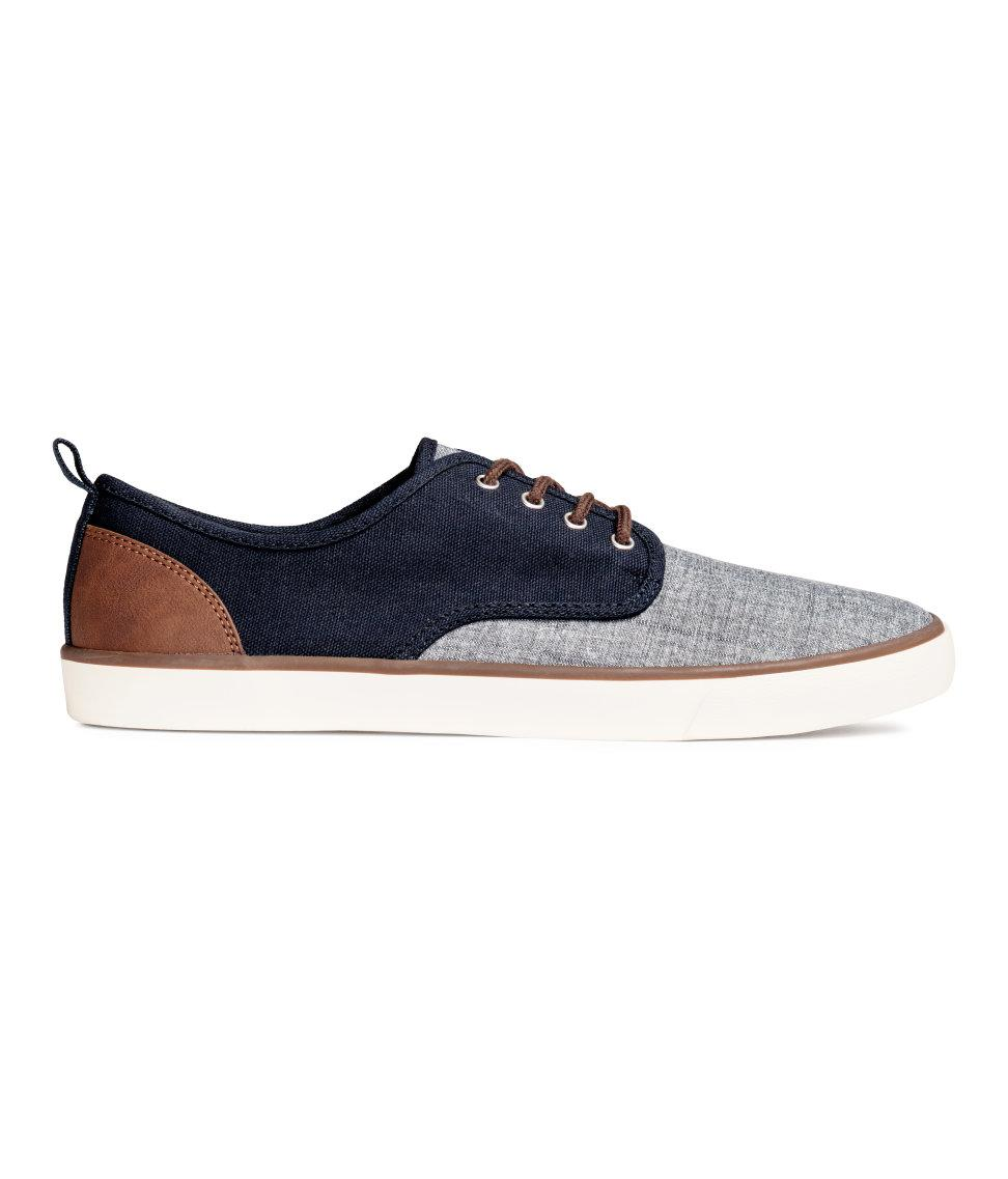 h m canvas trainers in blue for lyst